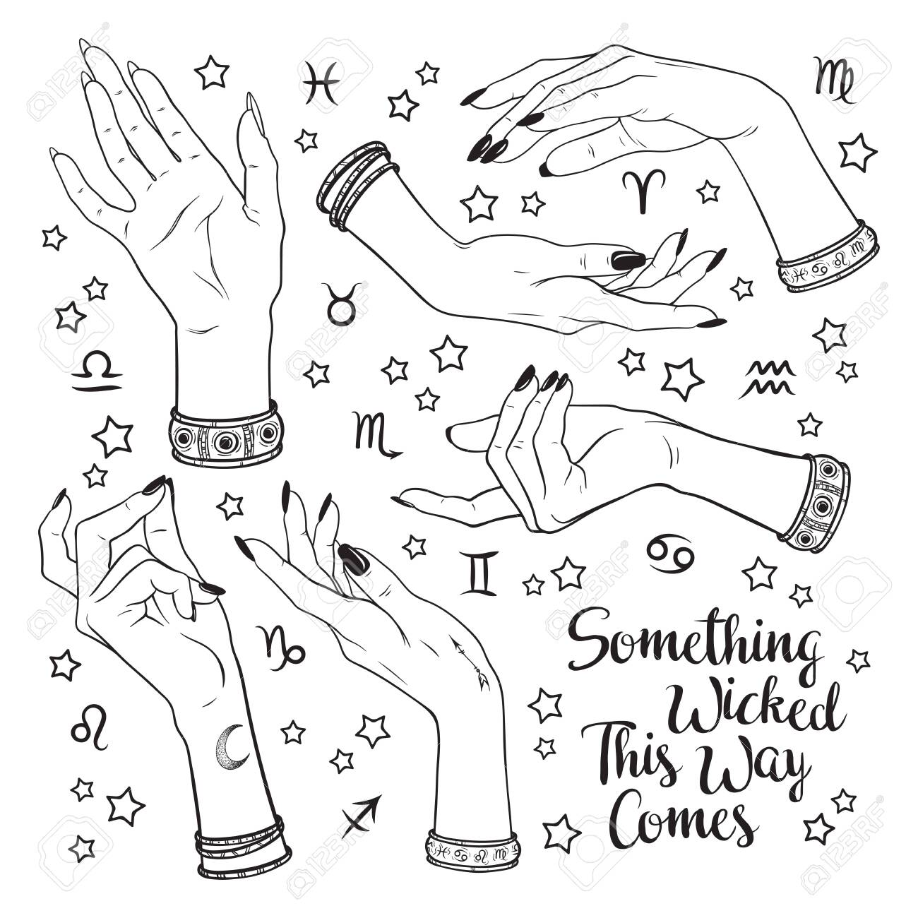 Hand drawn set of female witches hands in different poses. Flash tattoo, sticker, patch or print design vector illustration. Enscription is quote from Shakespeares Macbeth - 145667437