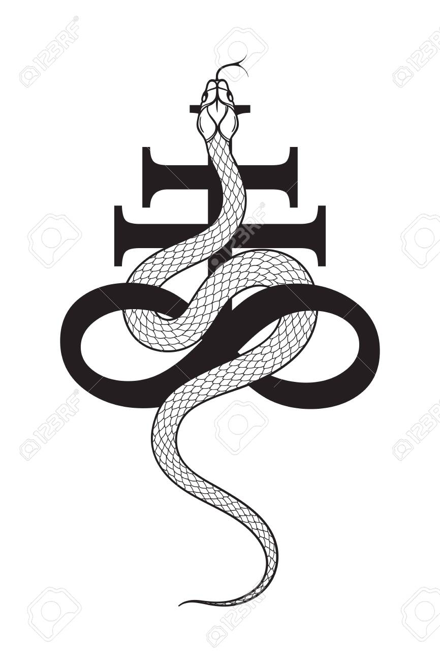 Serpent over the Leviathan Cross alchemical symbol of sulphur line art and dot work. Boho chic tattoo, poster, tapestry or altar veil print design vector illustration. - 145667438