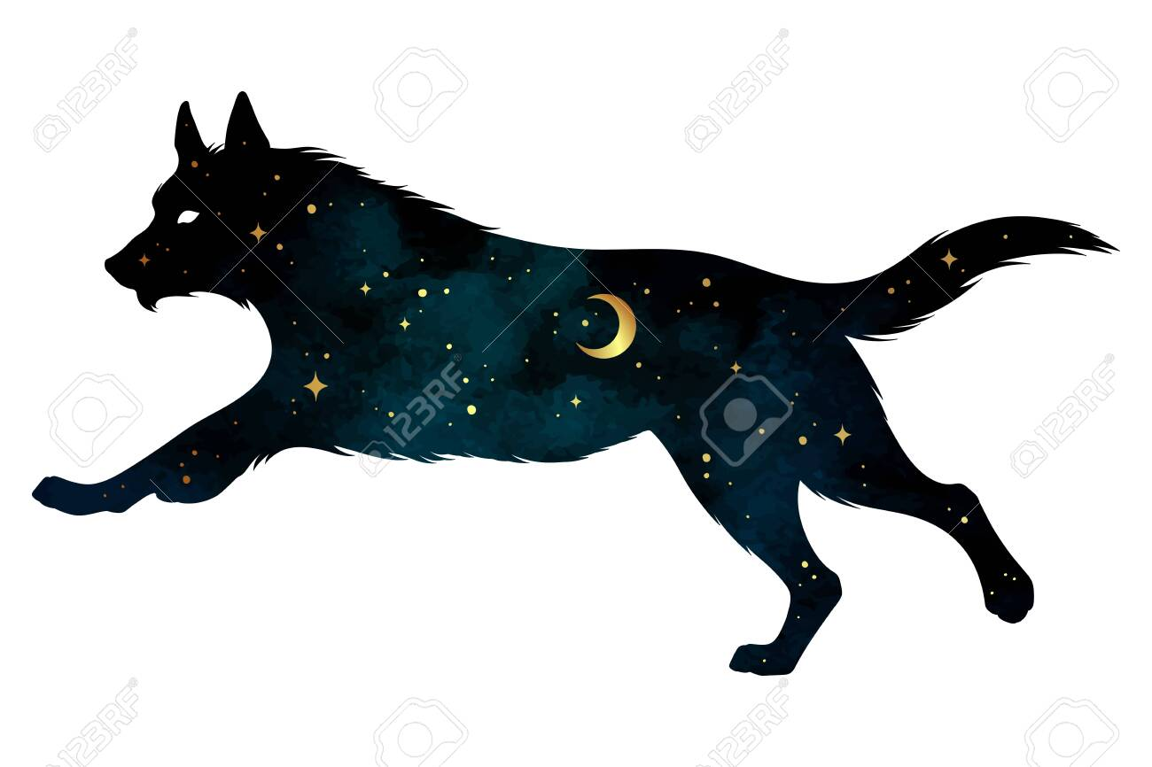 Silhouette of wolf with crescent moon and stars isolated. Sticker, print or tattoo design vector illustration. Pagan totem, wiccan familiar spirit art. - 145667439