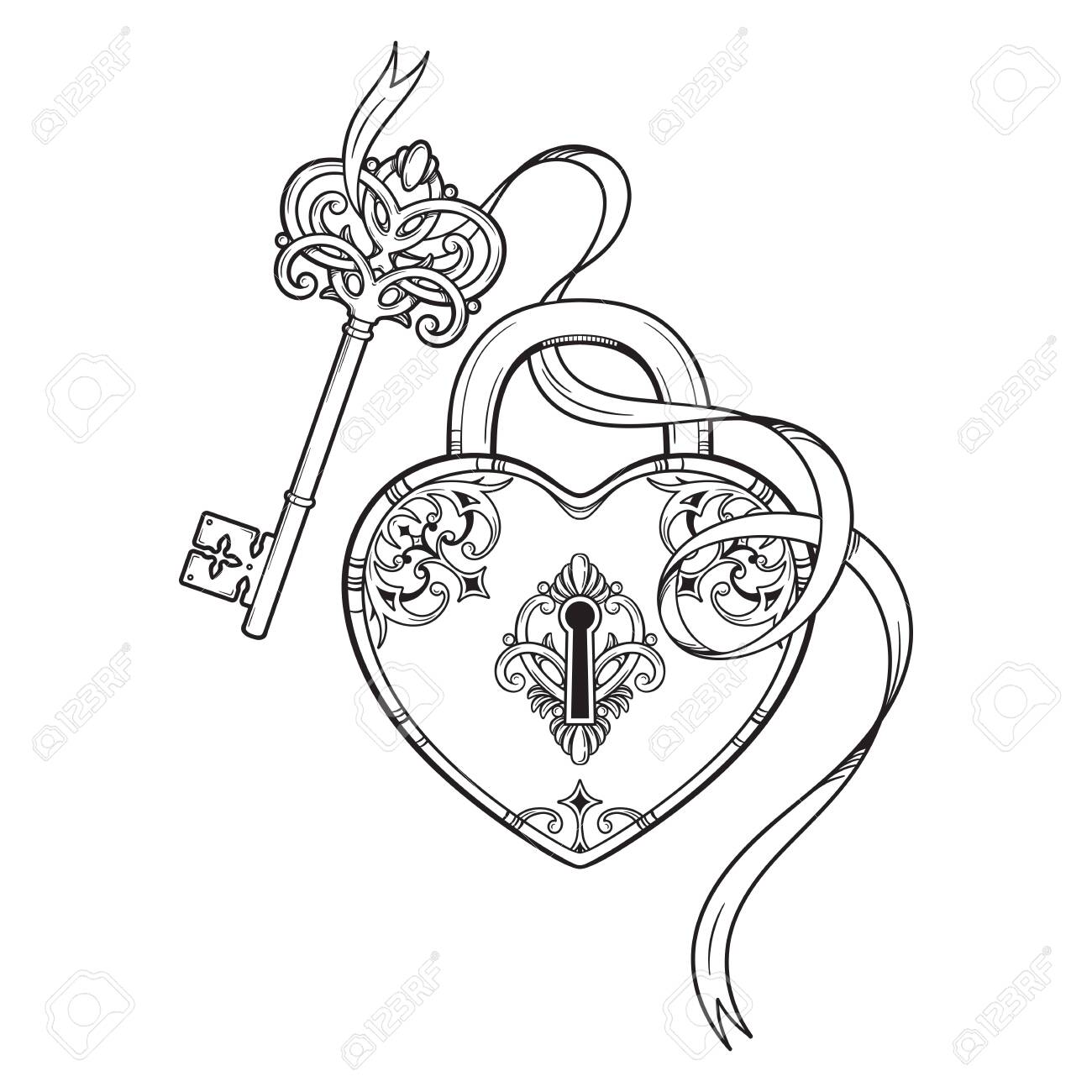 Key and heart shaped padlock in vintage style coloring book page for kids and adults hand drawn line art print or tattoo design vector illustration - 145546042