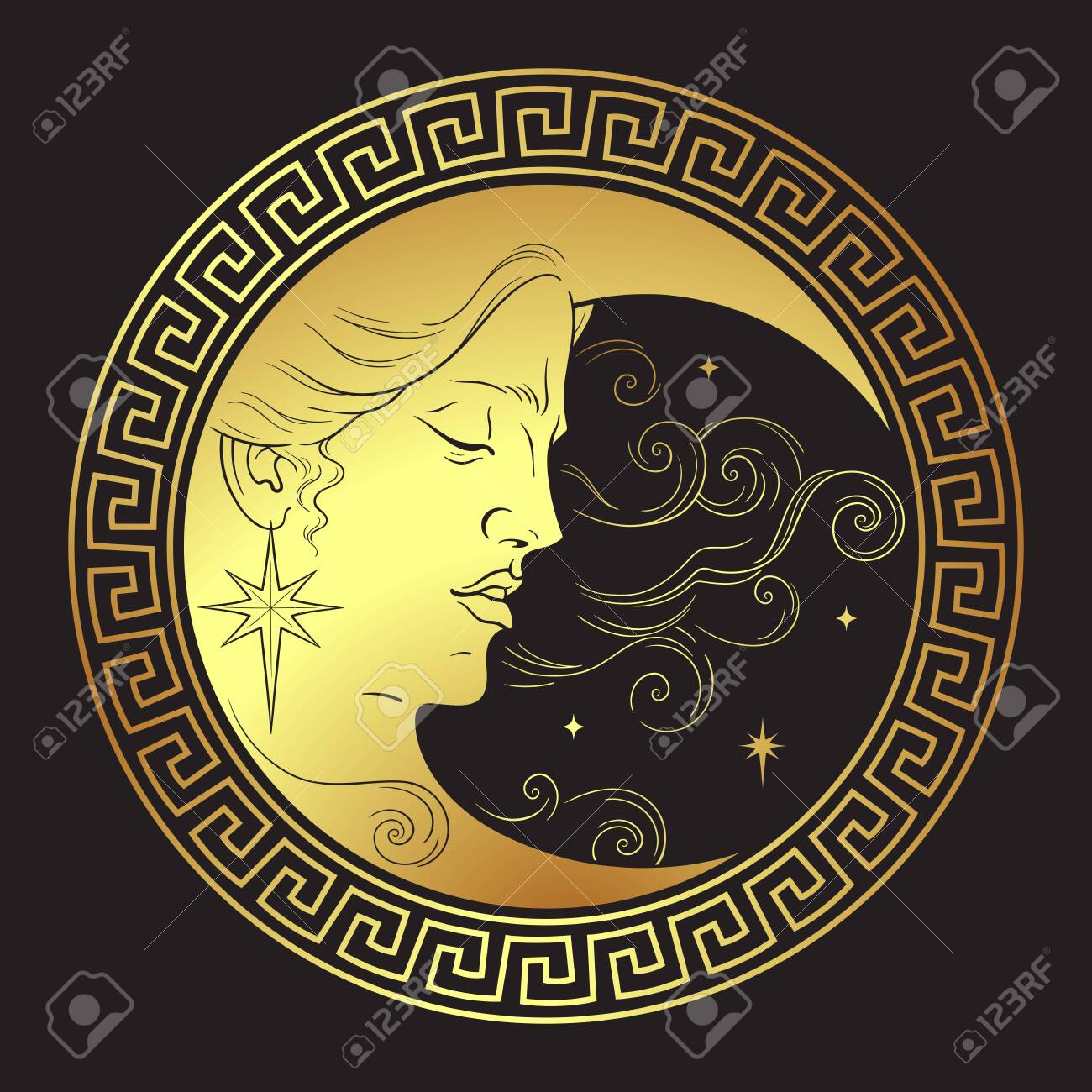 Crescent moon in antique style hand drawn line art boho chic art tattoo, poster, altar veil, tapestry or fabric print design vector illustration - 145667445