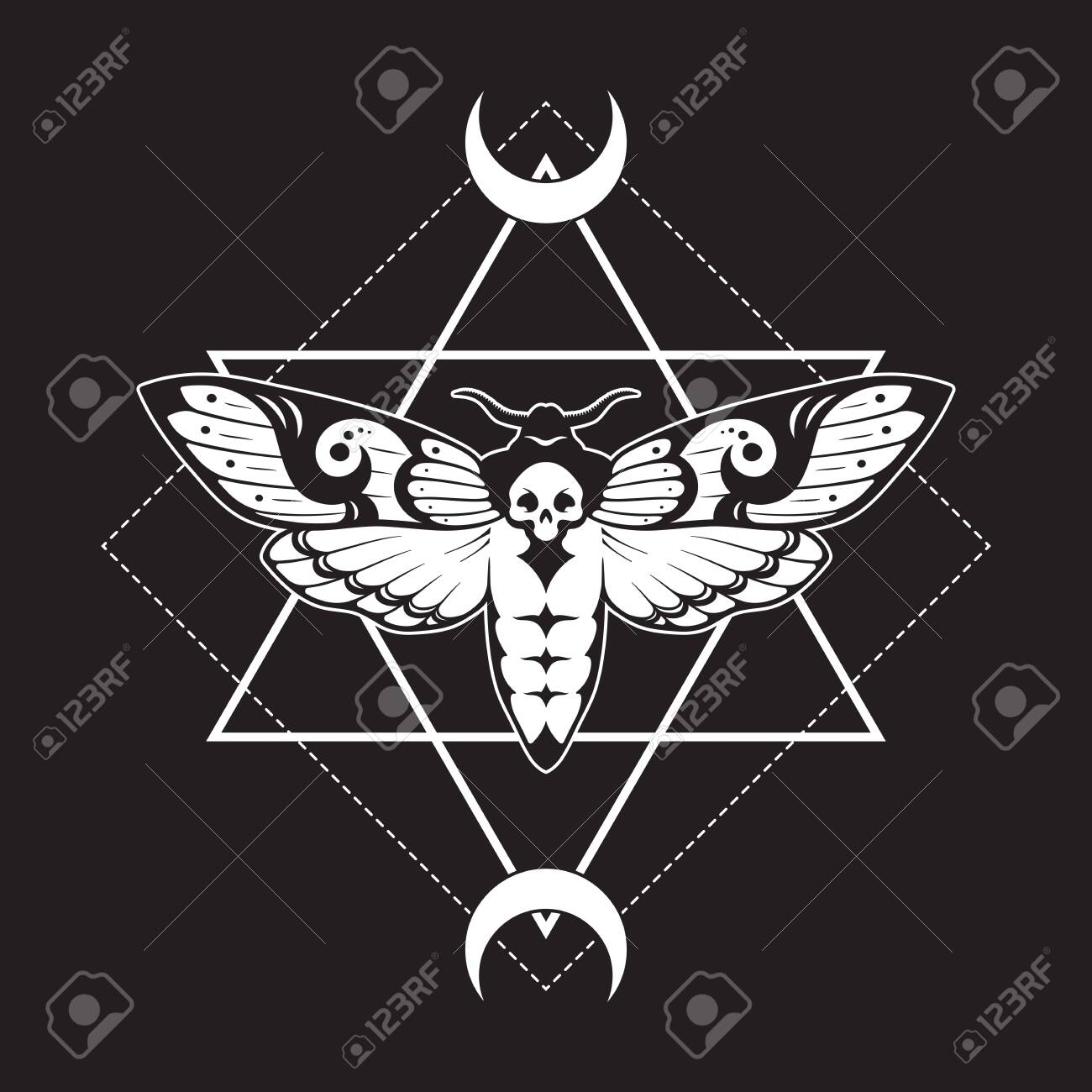 Deaths head hawk moth and sacred geometry with moon phases hand drawn line art print or tattoo design vector illustration - 145667478