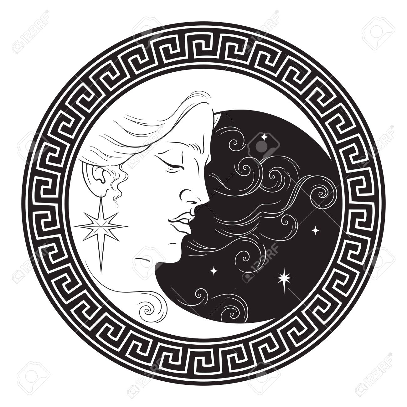 Crescent moon in antique style hand drawn line art boho chic art tattoo, poster, altar veil, tapestry or fabric print design vector illustration - 145667493
