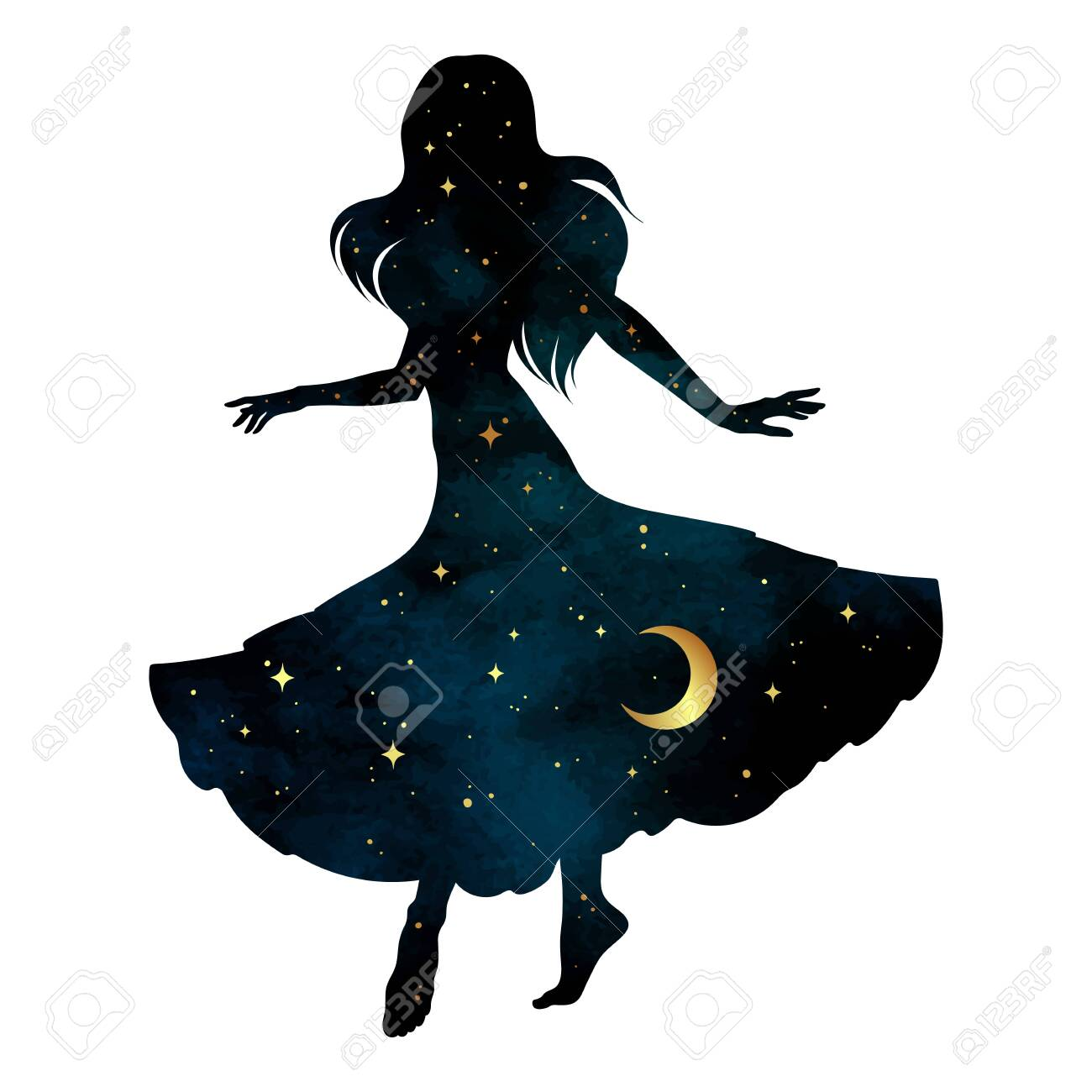 Beautiful dancing gypsy silhouette with crescent moon and stars isolated. Boho chic tattoo, sticker or print design vector illustration - 147978543