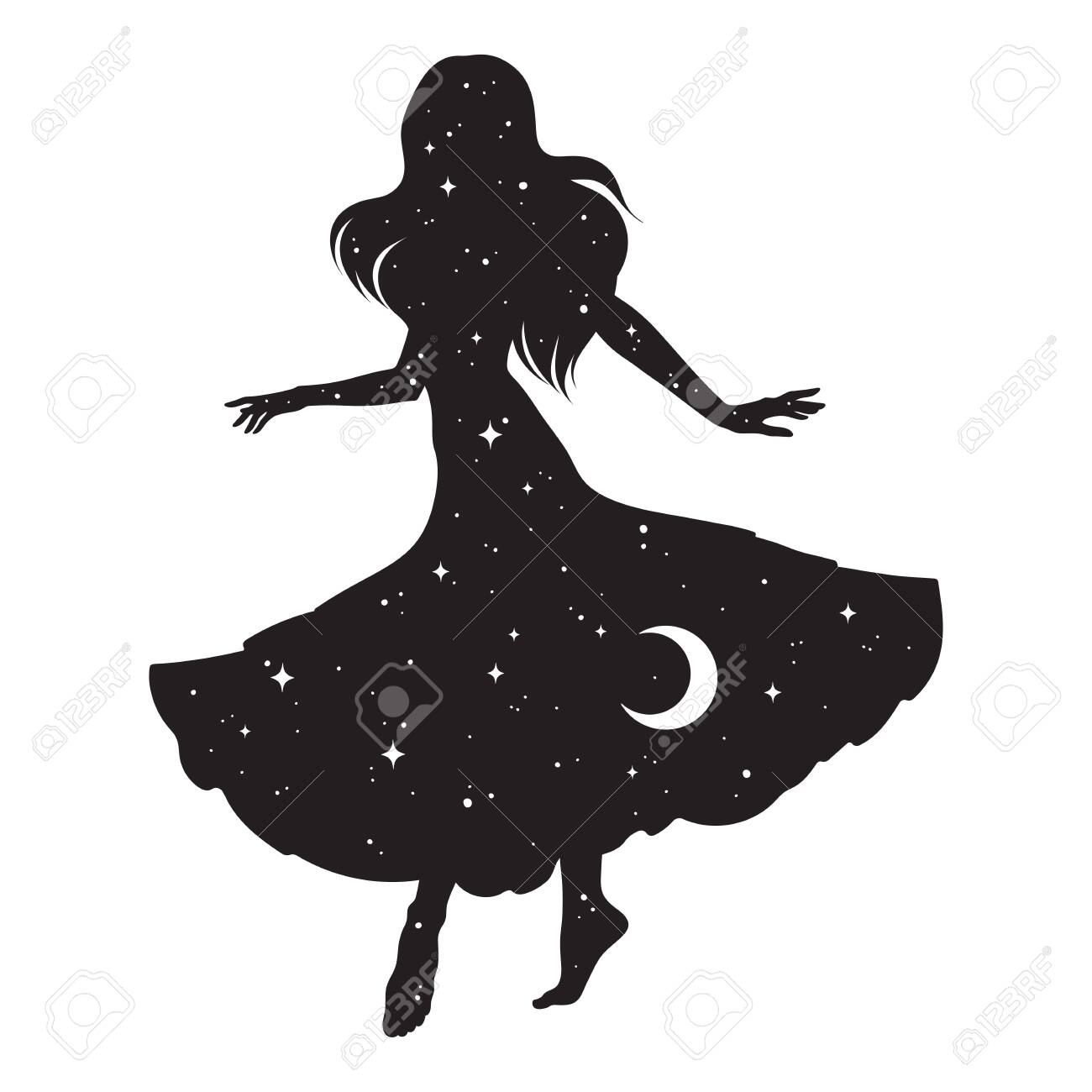 Beautiful dancing gypsy silhouette with crescent moon and stars isolated. Boho chic tattoo, sticker or print design vector illustration - 147978520