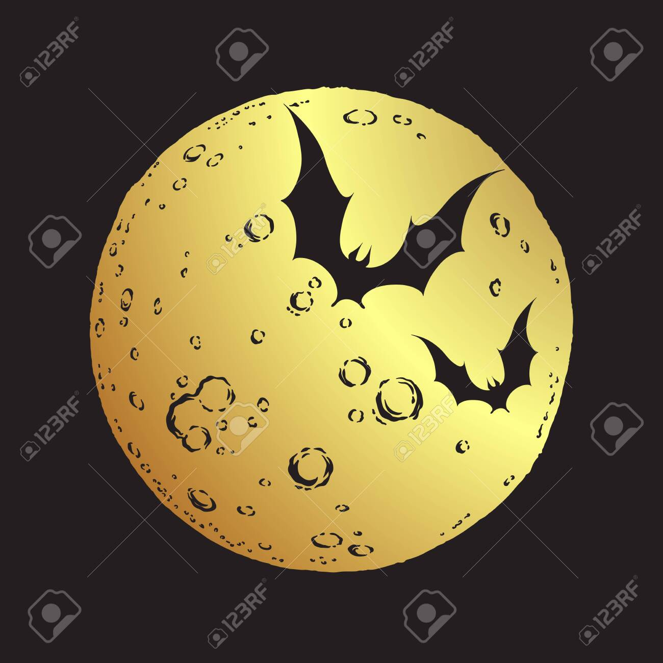 Antique style hand drawn line art gold full moon and bats isolated. Boho chic tattoo or print design vector illustration - 150017262