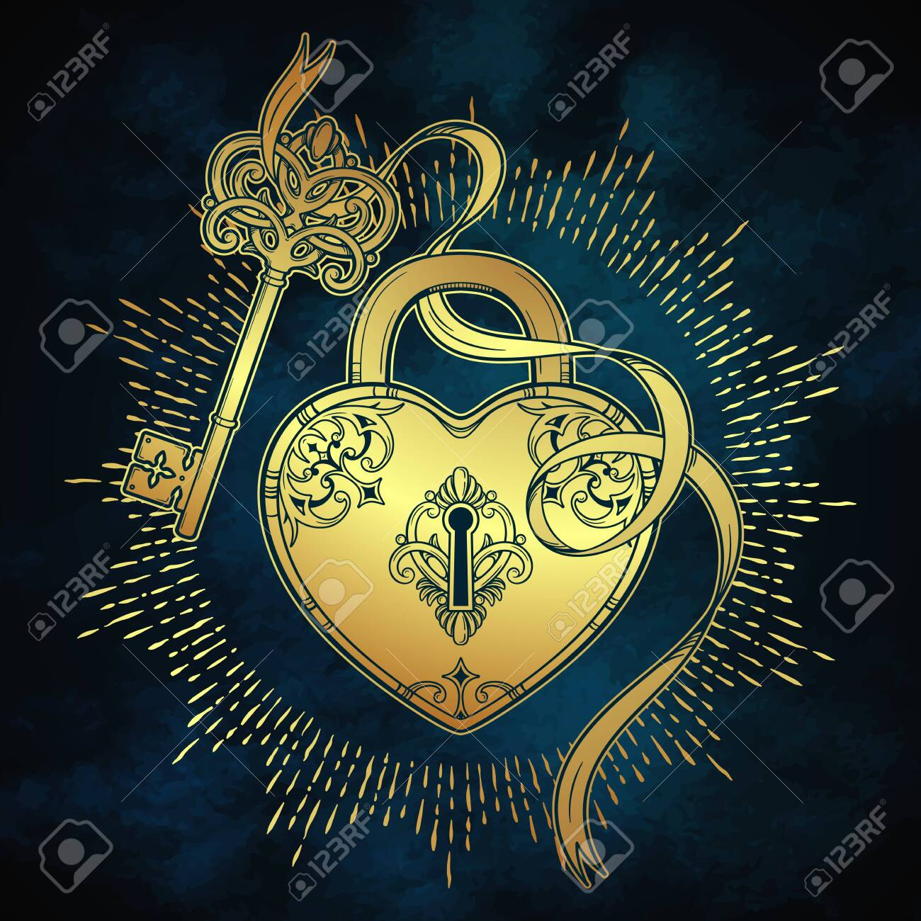 Key and heart shaped padlock in vintage style coloring book page for kids and adults hand drawn line art print or tattoo design vector illustration - 150024206