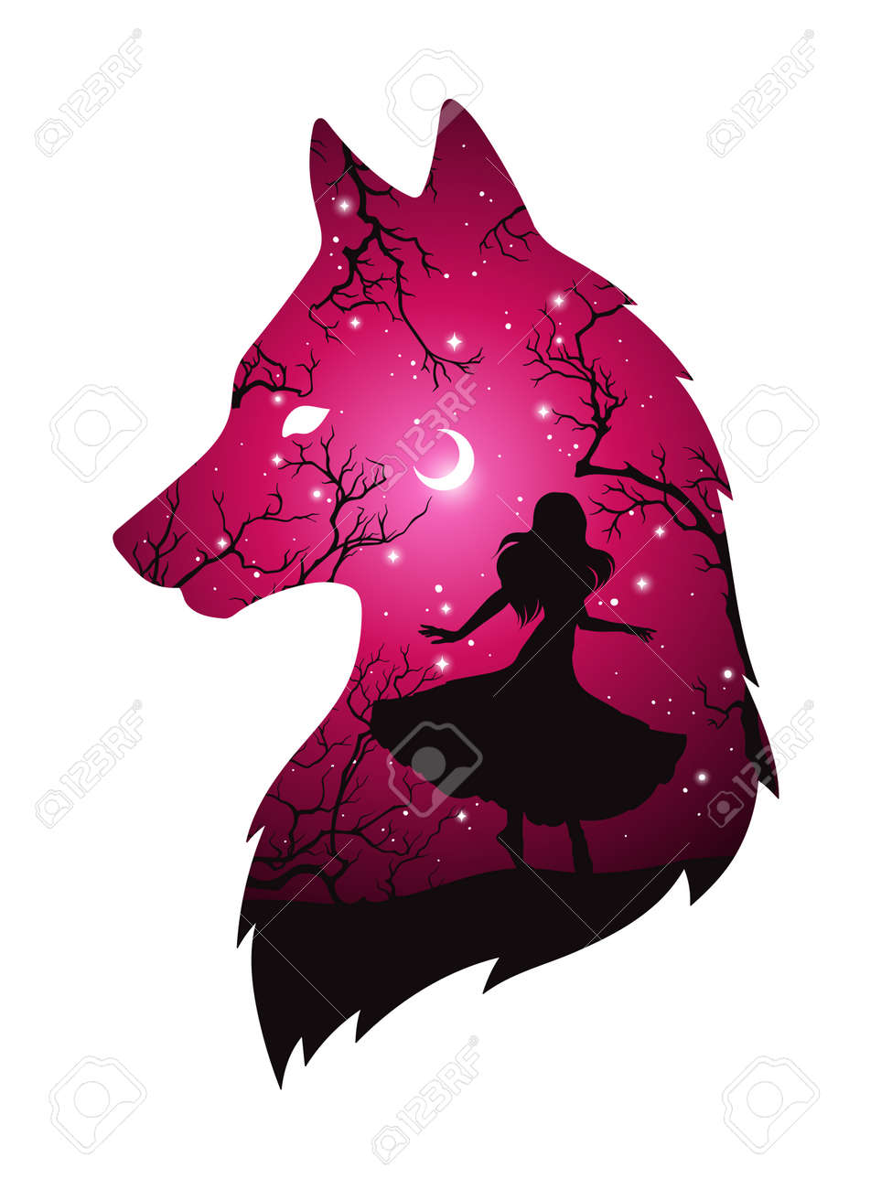 Double exposure silhouette of wolf with shadow of beautiful woman in the night forest, crescent moon and stars. Sticker or tattoo design vector illustration. Pagan totem, wiccan familiar spirit art. - 159333273