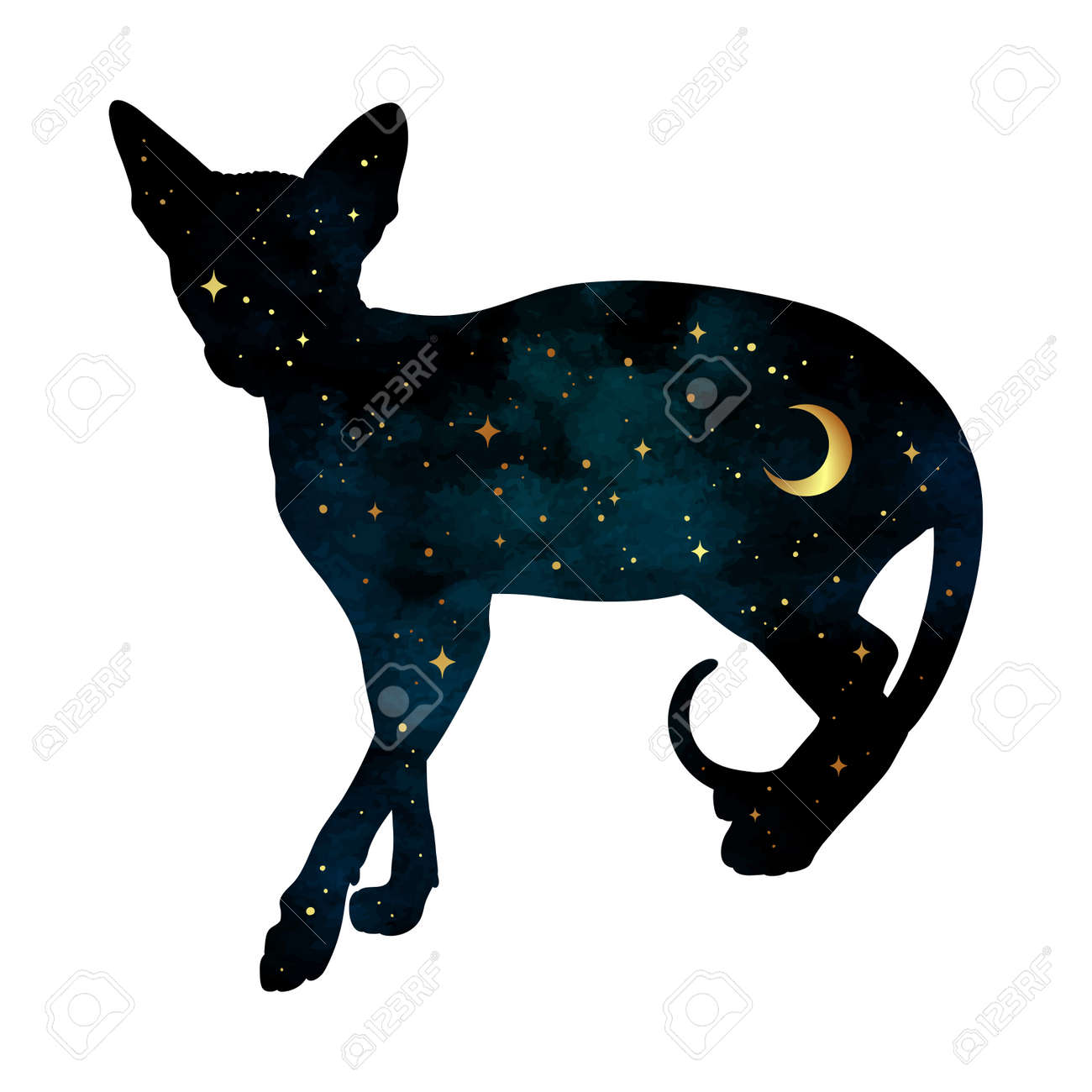Silhouette of cat with crescent moon and stars isolated. Sticker, print or tattoo design vector illustration. Pagan totem, wiccan familiar spirit art. - 158912706