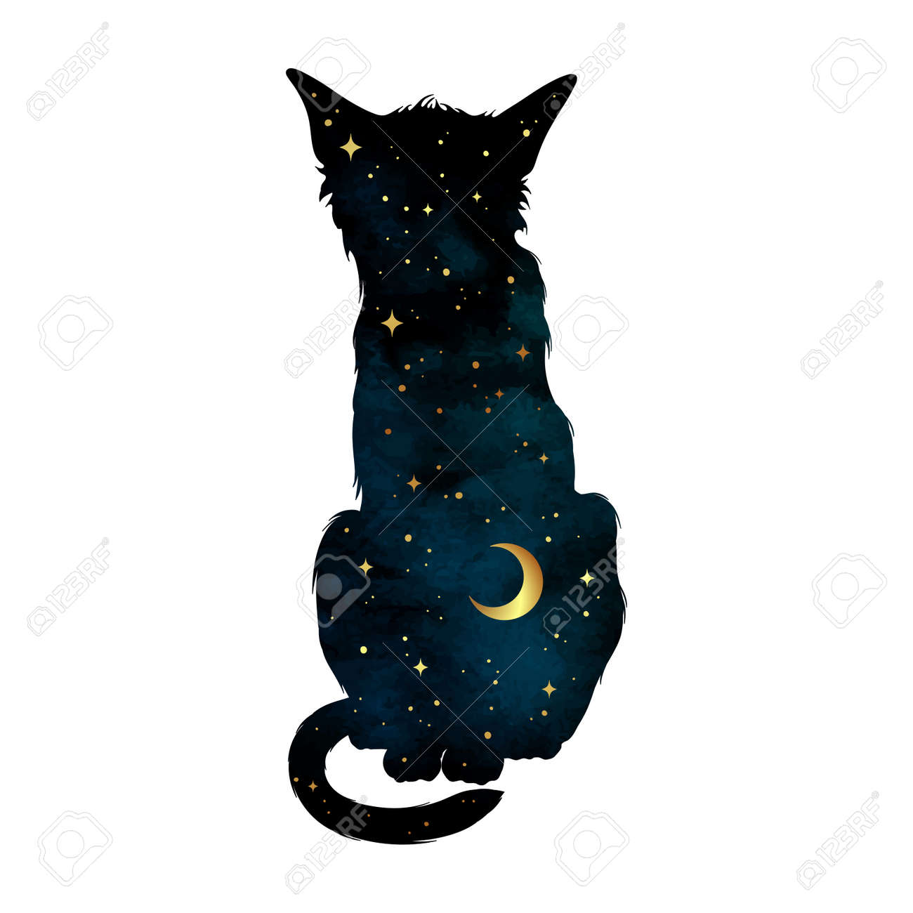 Silhouette of cat with crescent moon and stars isolated. Sticker, print or tattoo design vector illustration. Pagan totem, wiccan familiar spirit art. - 158913022