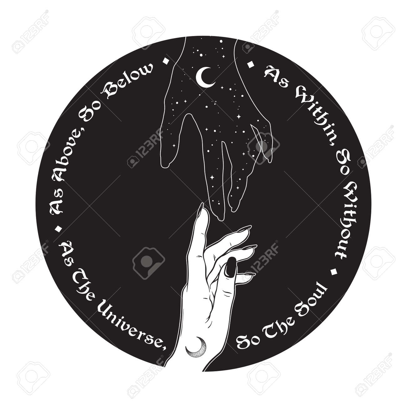 Hand of universe reaching out to human hand. Inscription is a maxim in hermeticism and sacred geometry. As above, so below. Black work, flash tattoo or print design vector illustration. - 163870714