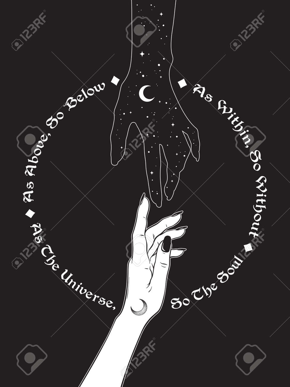 Hand of universe reaching out to human hand. Inscription is a maxim in hermeticism and sacred geometry. As above, so below. Black work, flash tattoo or print design vector illustration. - 163870715