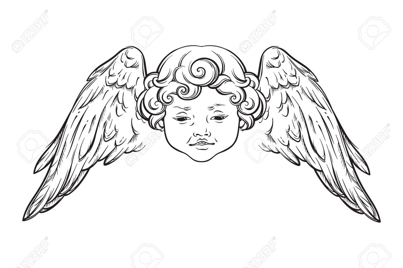 Cherub cute winged curly smiling baby boy angel with rays of linght isolated over white background. Hand drawn design vector illustration. - 163870719