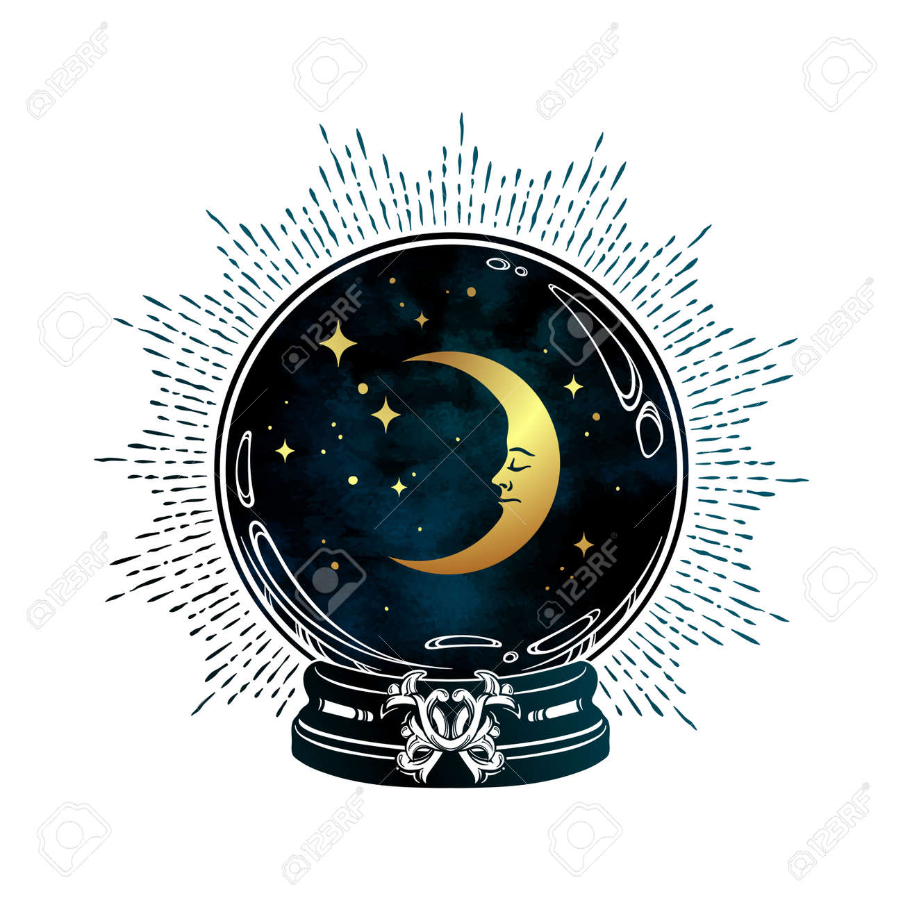 Hand drawn magic crystal ball with crescent moon and stars line art and dot work. Boho chic tattoo, poster or altar veil print design vector illustration - 163870721