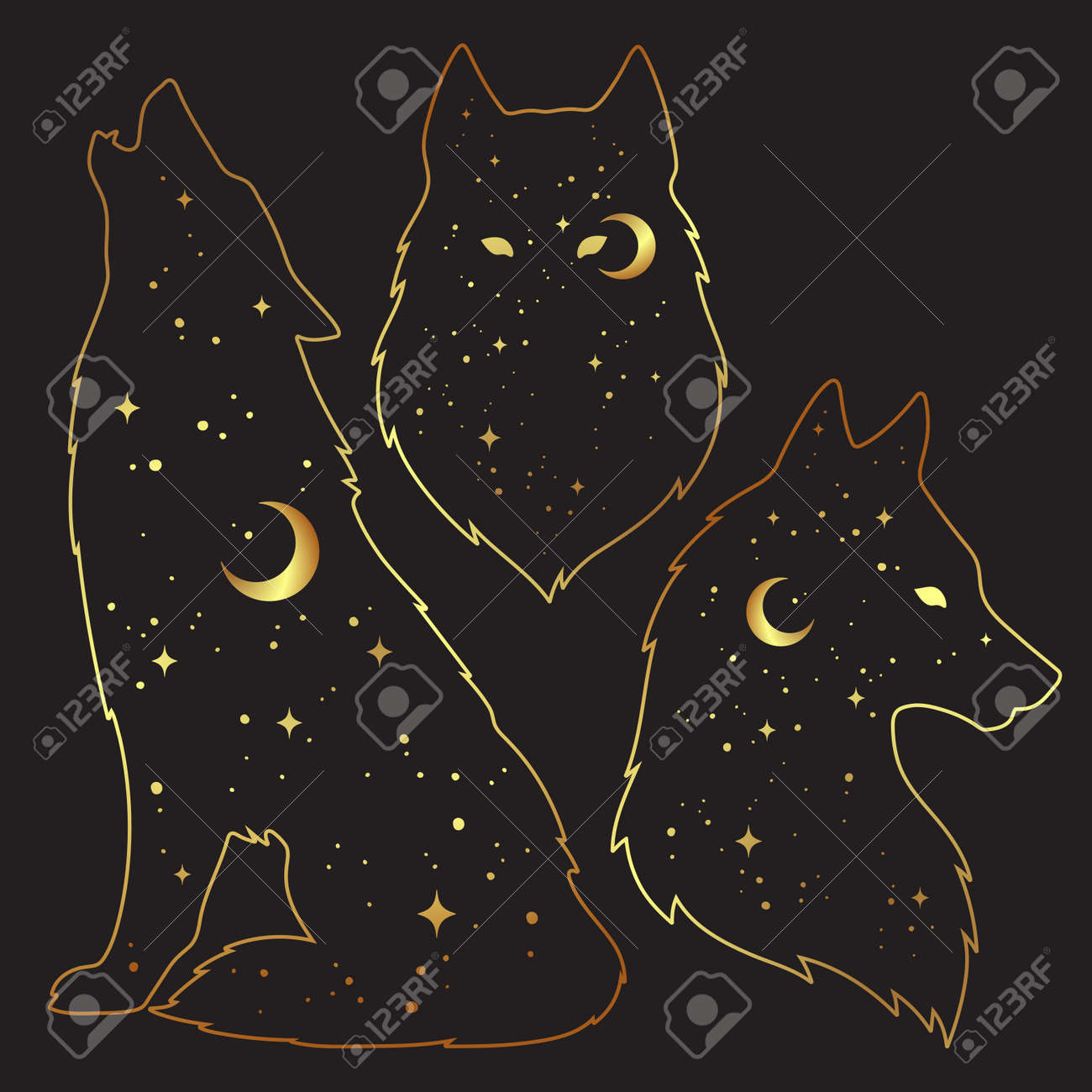 Set of wolf silhouettes with crescent moon and stars isolated. Sticker, print or tattoo design vector illustration. Pagan totem, wiccan familiar spirit art. - 165651824