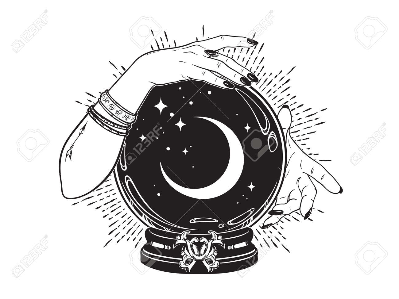 Magic crystal ball with crescent moon and stars in hands of fortune teller line art and dot work. Boho chic tattoo, poster or altar veil print design vector illustration. - 169999761