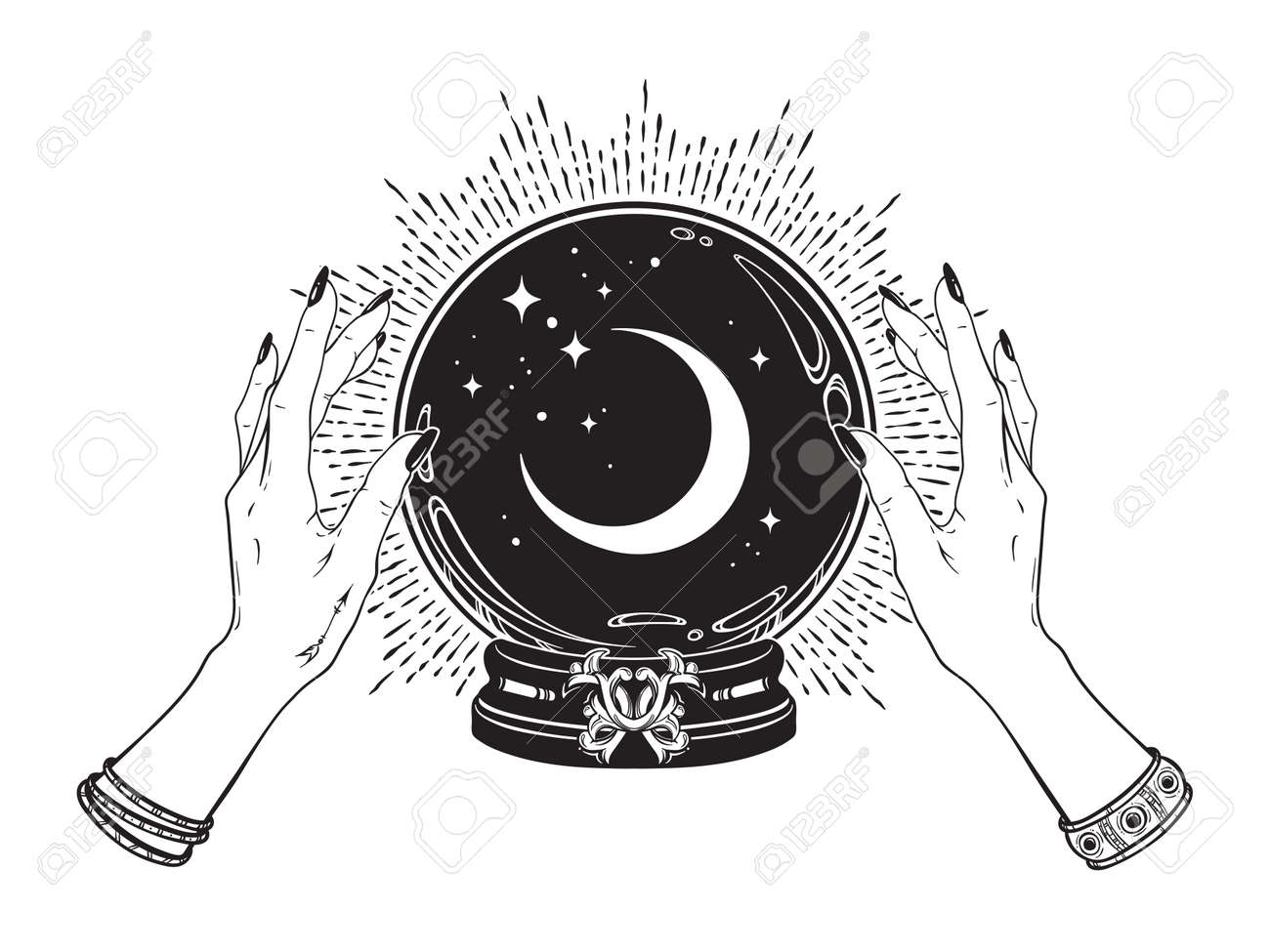 Magic crystal ball with crescent moon and stars in hands of fortune teller line art and dot work. Boho chic tattoo, poster or altar veil print design vector illustration. - 169999768