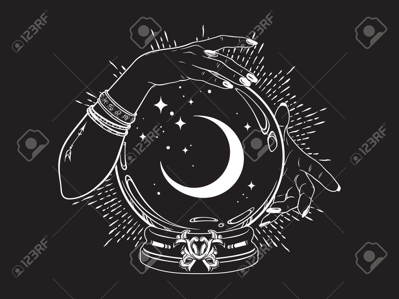 Magic crystal ball with crescent moon and stars in hands of fortune teller line art and dot work. Boho chic tattoo, poster or altar veil print design vector illustration. - 169999799