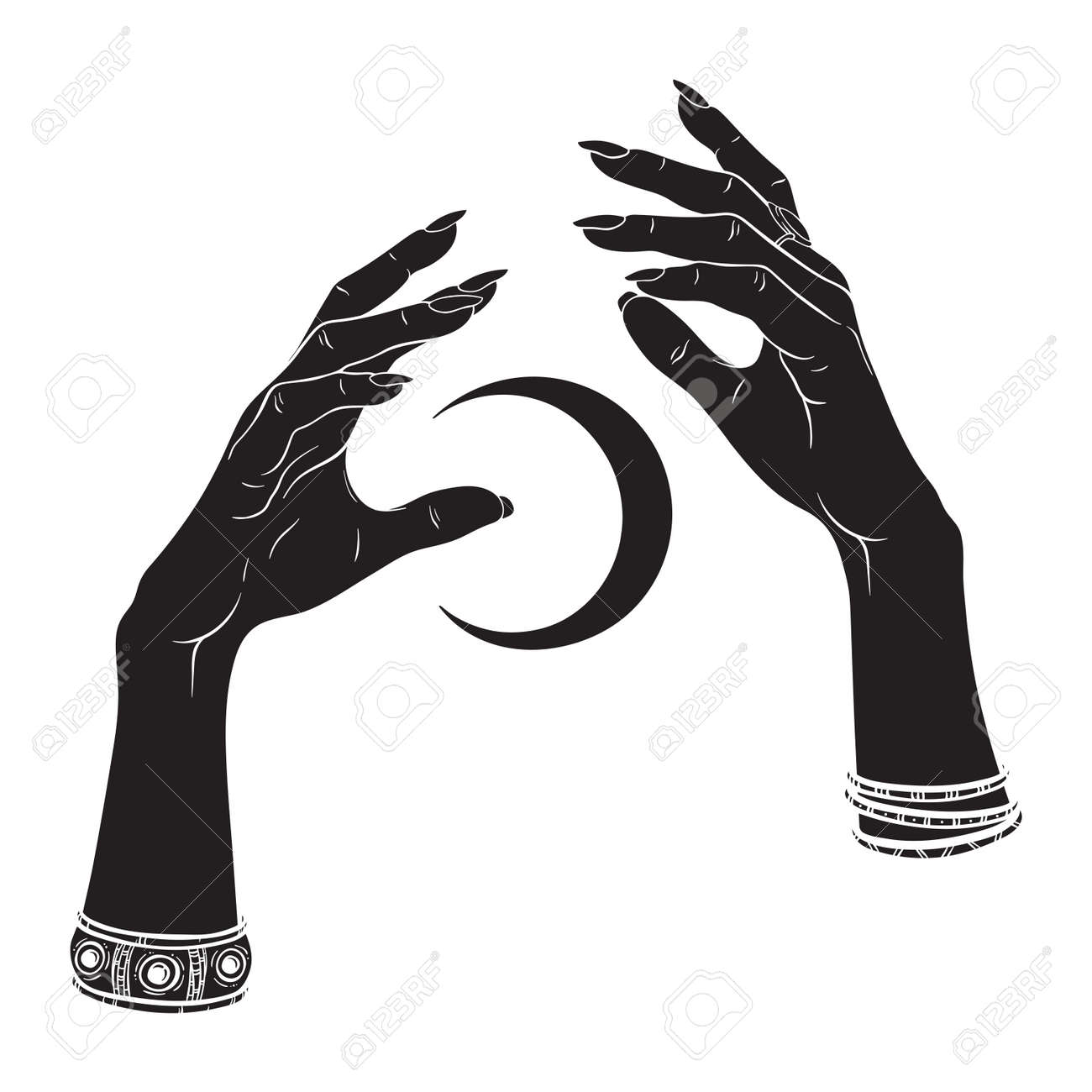Hand drawn female witch hands holding crescent moon. Flash tattoo, sticker, patch or print design vector illustration - 172905435