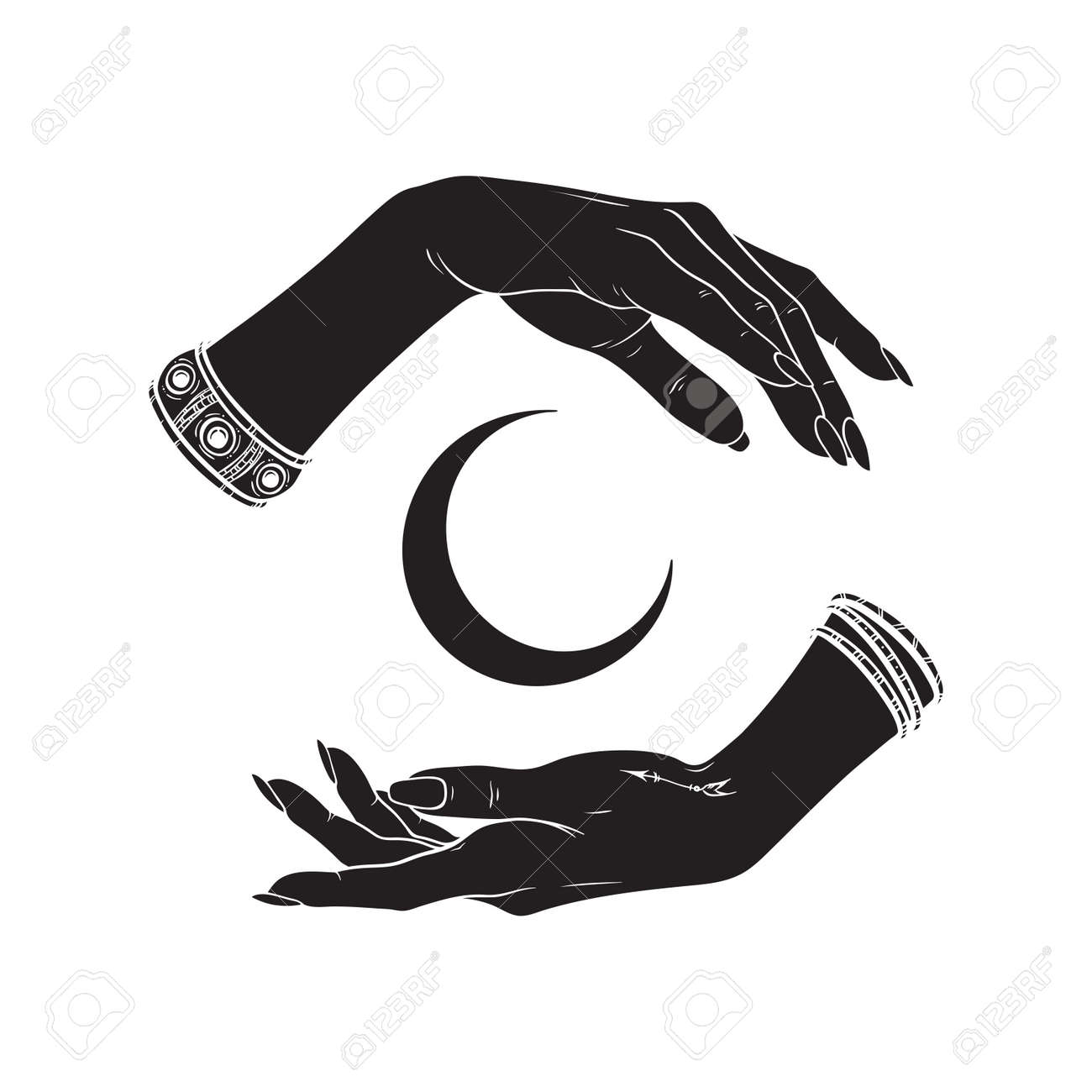 Hand drawn female witch hands holding crescent moon. Flash tattoo, sticker, patch or print design vector illustration - 172905459