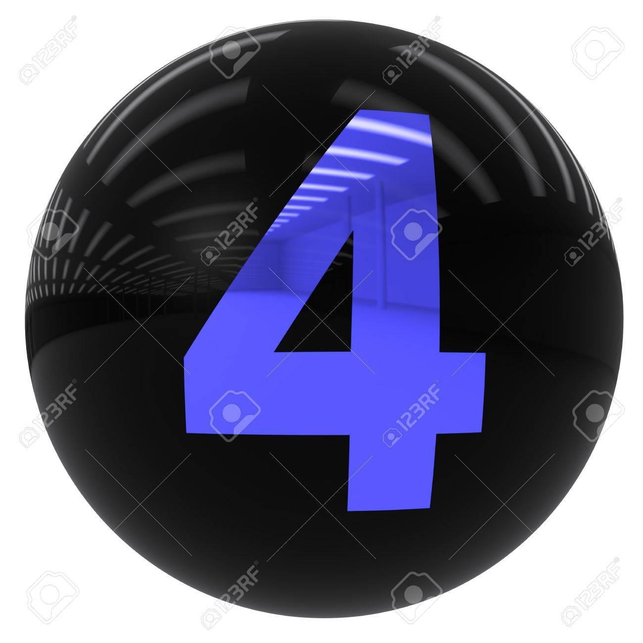 3d bola negro con el número cuatro aislados en blanco con trazado de  recorte Foto de daca1de72b2f3
