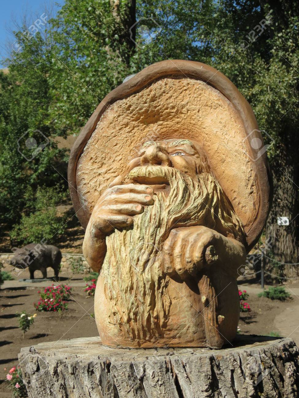 Fantasy creature mushroom sculpture stock photo picture and