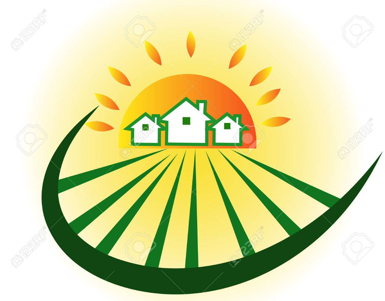 farm houses with sun royalty free cliparts vectors and stock rh 123rf com Cartoon Pictures of Farms and Crops Troctors Free Commercial Vector
