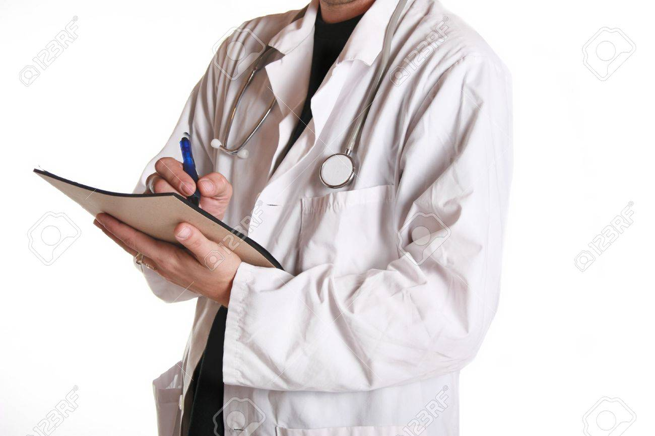 Doctor In White Coat Taking A Patients History During A Medical
