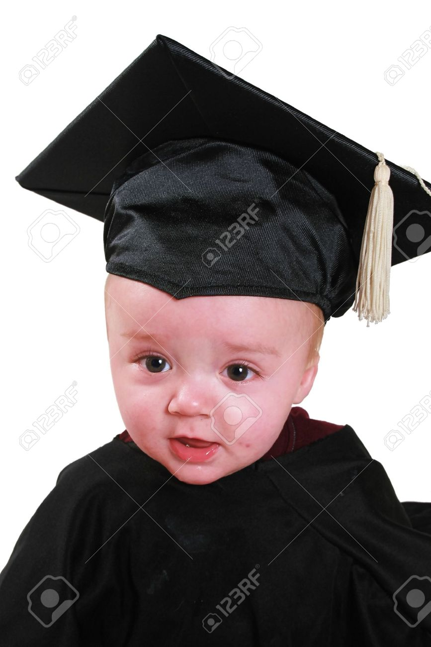 A Baby In A Graduation Outfit. A Black Cap And Gown. Stock Photo ...