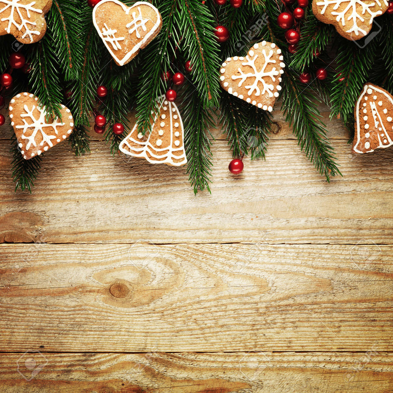 Christmas fir tree with decoration on a wooden board - 157175257