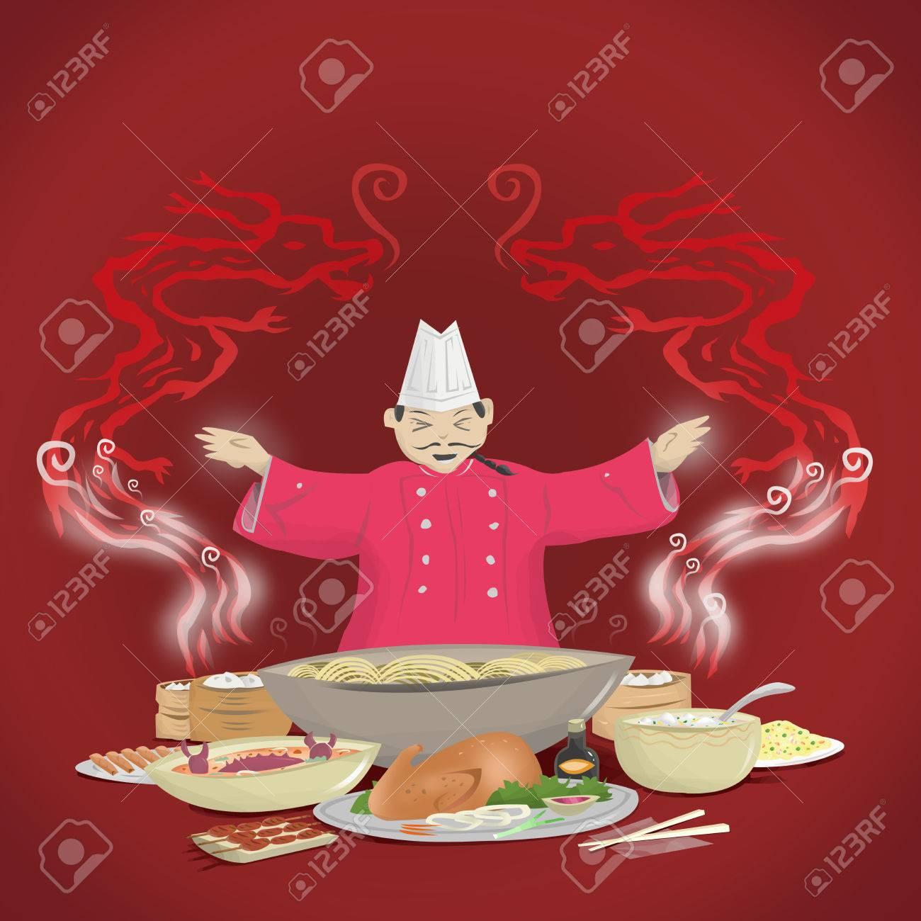 Chinesische Küche Und Küchenchef Mit Drachen Rauch. Lizenzfreie ...