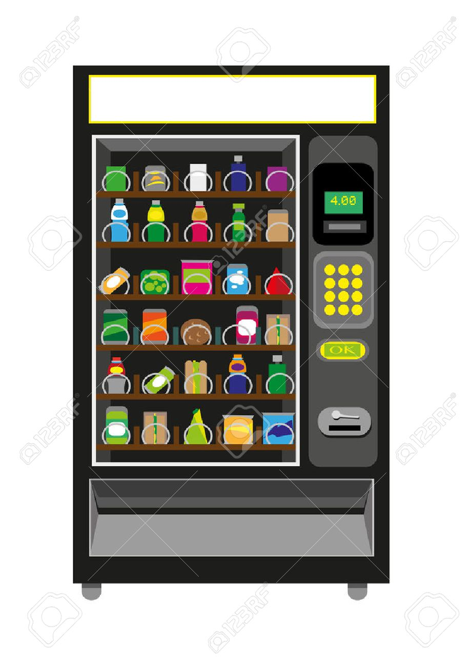 vending machine illustration with food and beverages in black rh 123rf com clipart vending machine Snack Vending Machine Clip Art