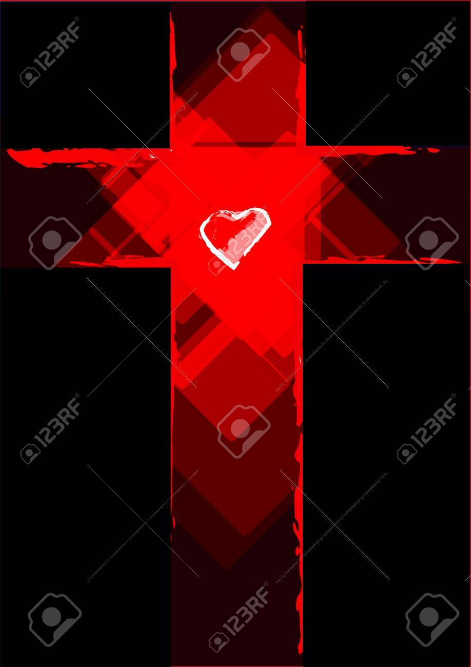 Grunge Cross with a White Heart in the middle - 50998831