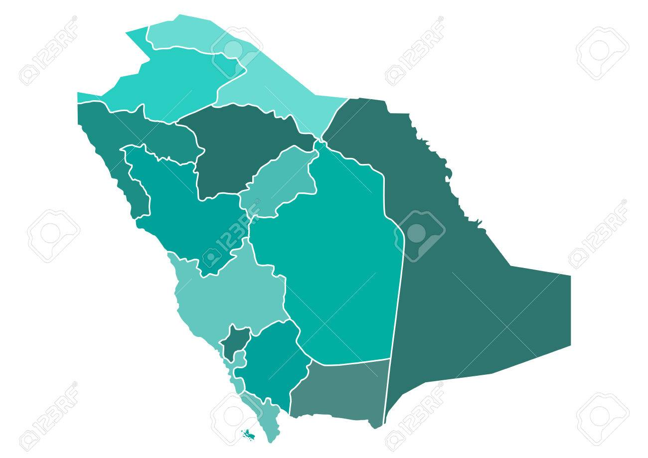 Saudi Arabia Political Map With Different Provinces Borders In