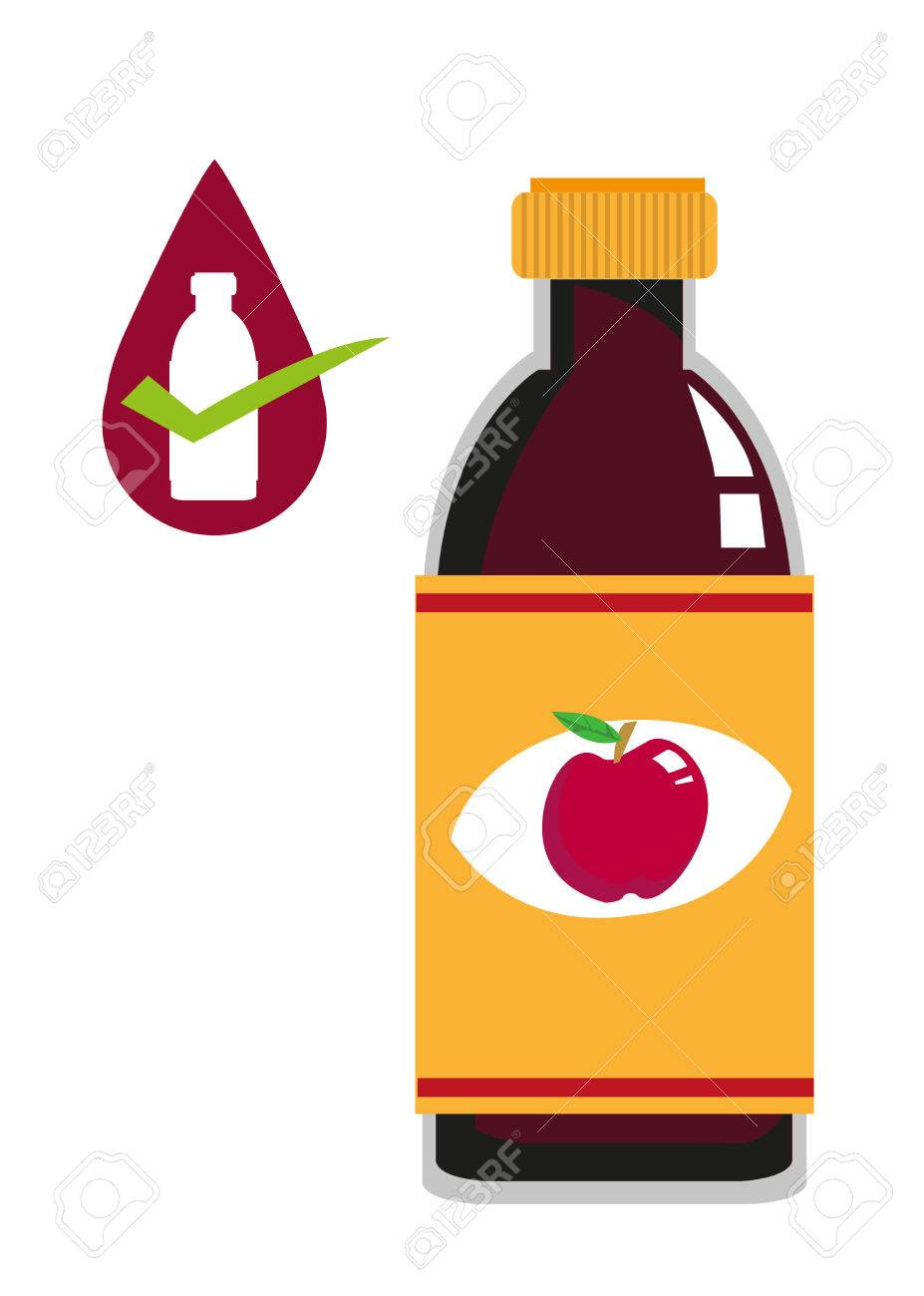 flat art of apple cider vinegar bottle concept editable clip rh 123rf com