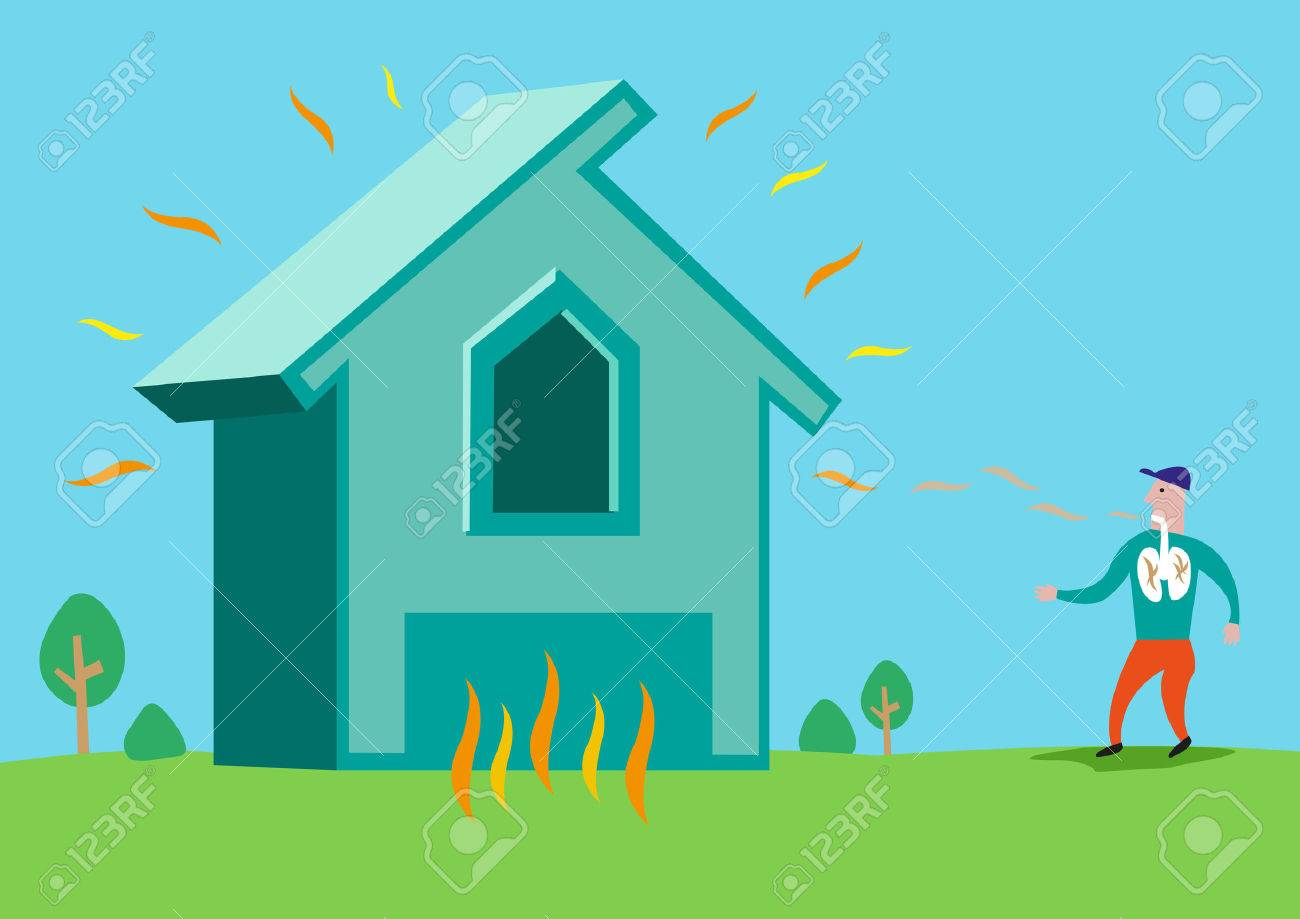 House in flames or with Asbestos or Radon Radiation. Editable Clip Art. - 53928581