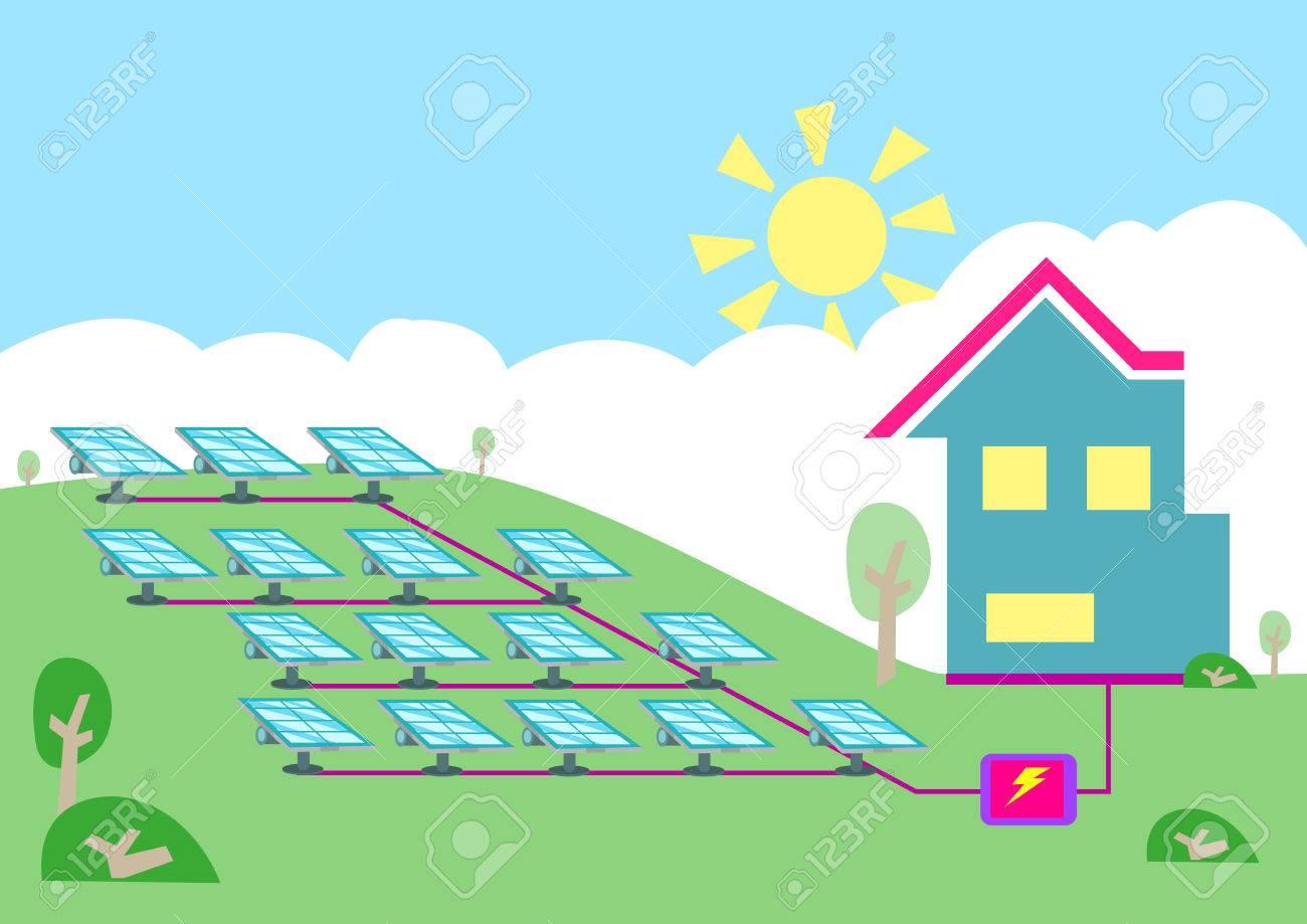 An Array Of Solar Powered Cell Converting Sun Energy Into ...