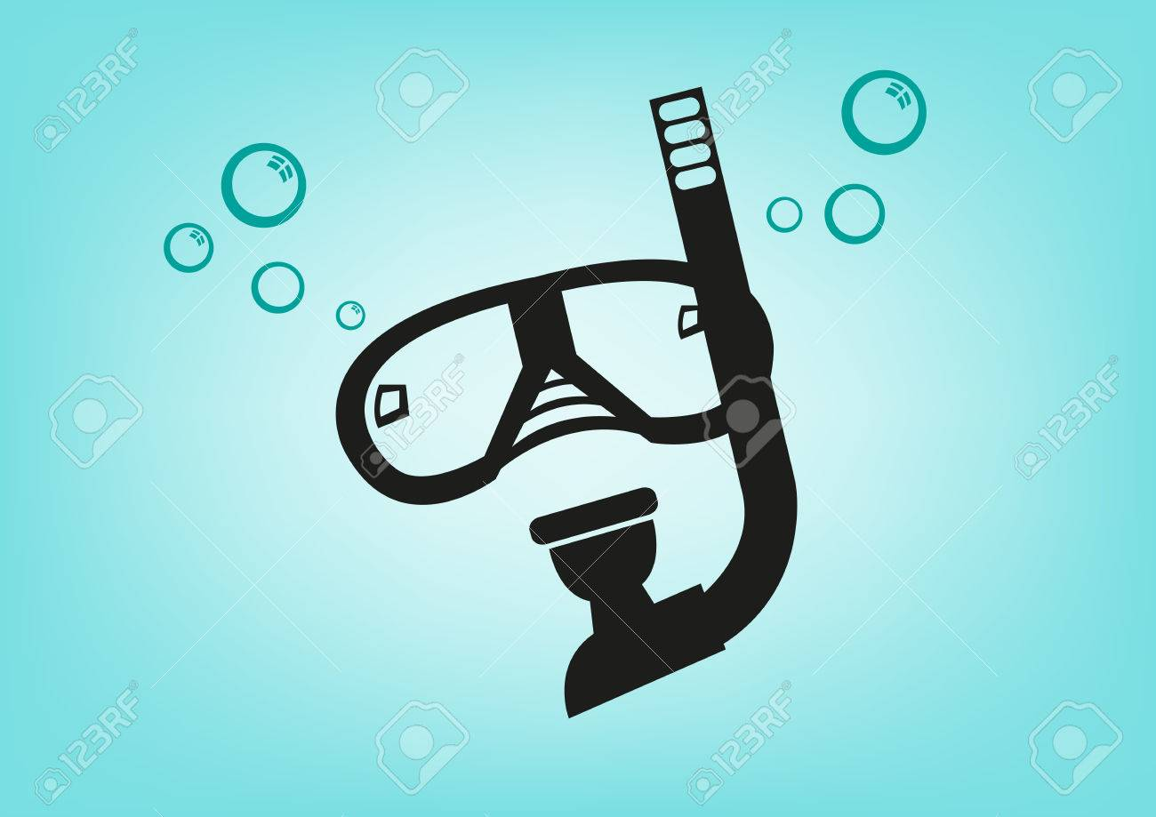 Scuba Diving Mask And Breathing Apparatus. Editable Clip Art ...