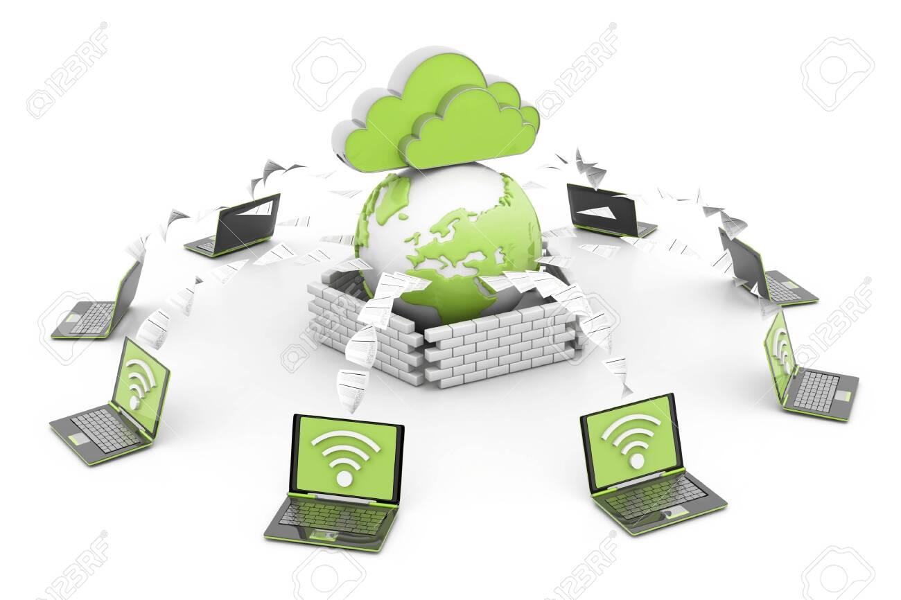 Cloud computer network. 3d render - 149655484