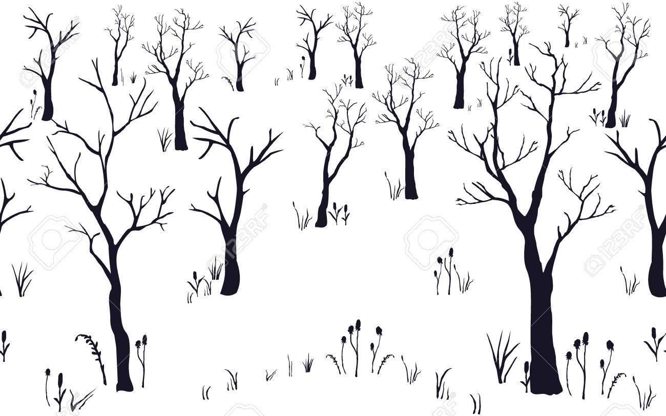 Motif Sans Couture De La Foret Sans Feuilles Ensemble D Arbres Noirs Texture Silhouette Dessin Dessine A La Main Illustration Vectorielle Carte De Vacances Pour Les Cartes Les Fonds D Ecran Le Papier Peint