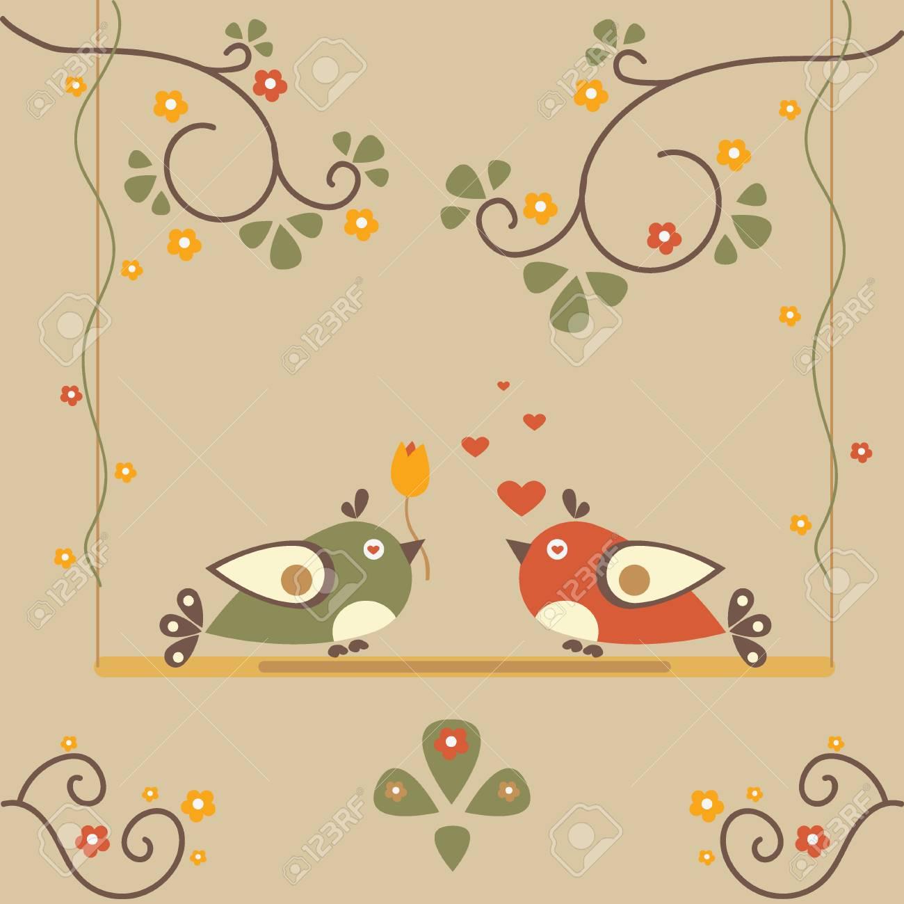 Liebes Vogel Baum Vektor Karte Fur Valentinstag Vektor