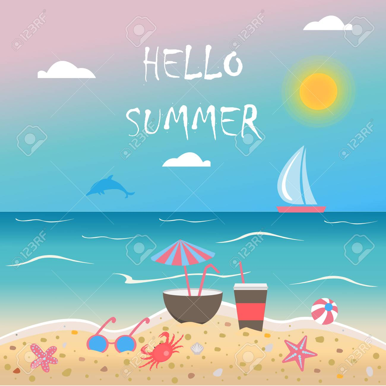 7d461292976 Hello Summer. Summer Vector Illustration. Seashore With Sunglasses ...
