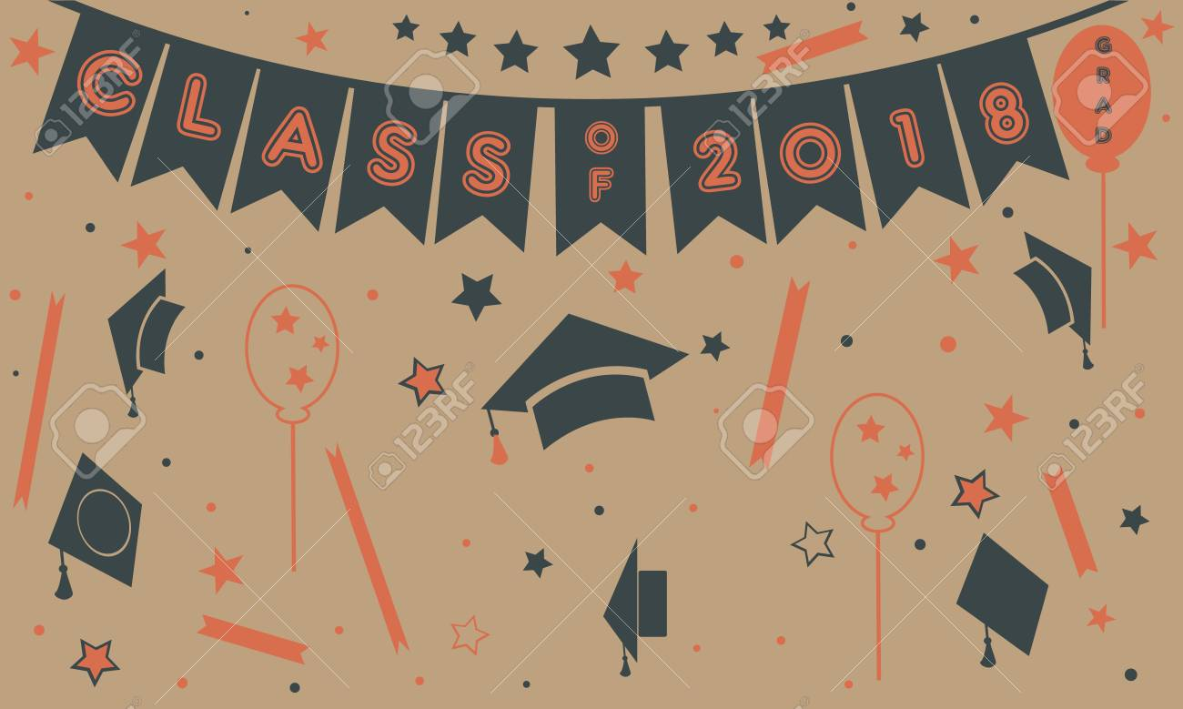 Graduation Class Of Two Thousand Eighteen Paper Background Party Invitation Flat Design