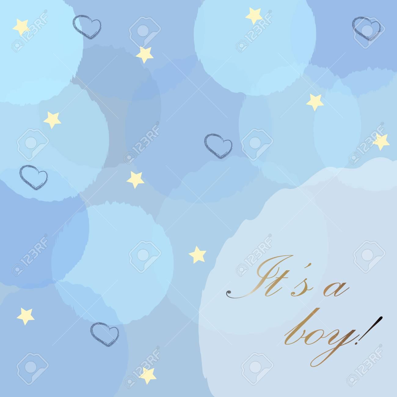 c87b99eed3f47 Annonce de naissance bébé garçon avec des bulles bleues, des étoiles et des  coeurs sur
