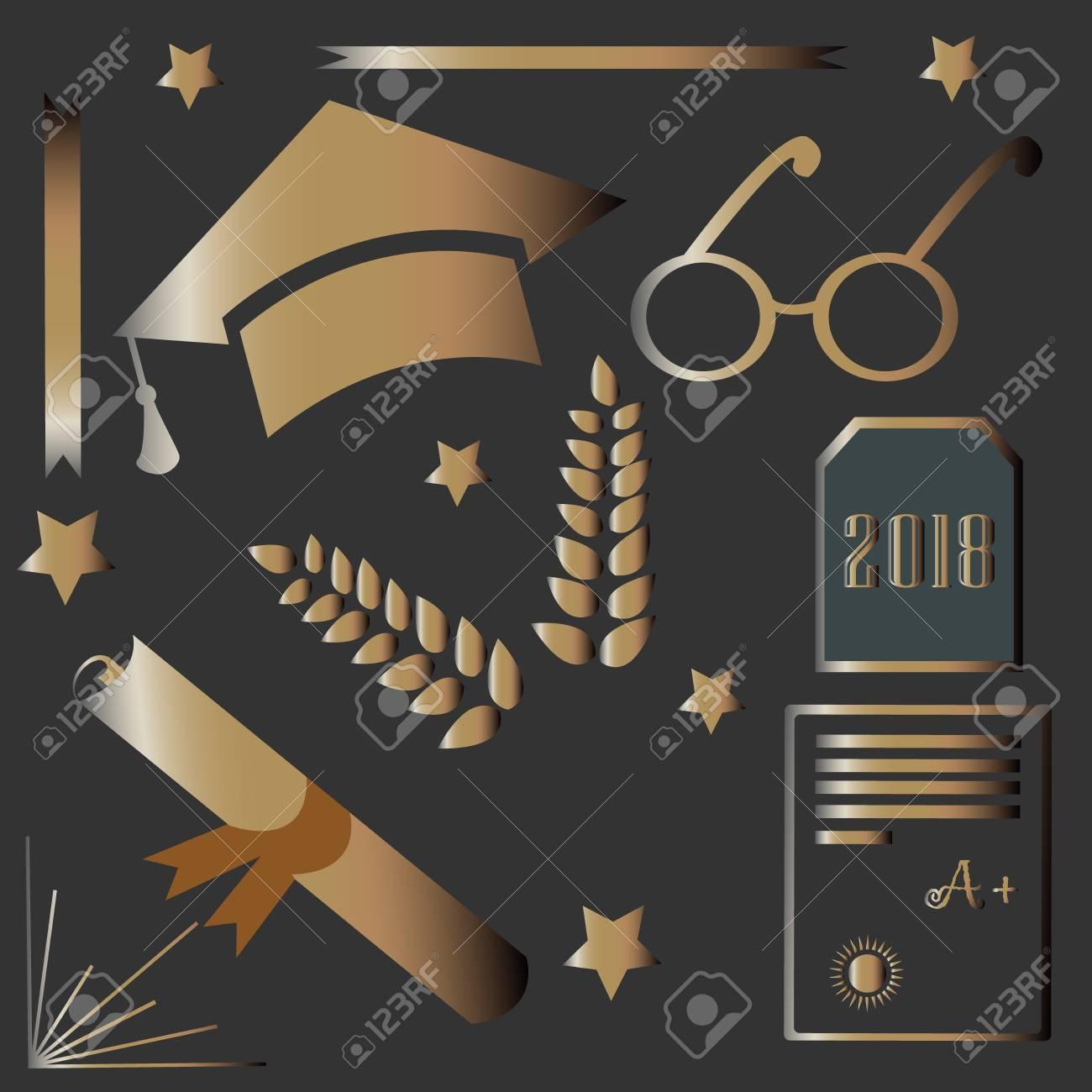 Paquete De Graduación Diseño Rico En Oro Iconos De Oro Para La Ceremonia De Graduación Tarjetas Postales Tarjetas De Felicitación Camisetas