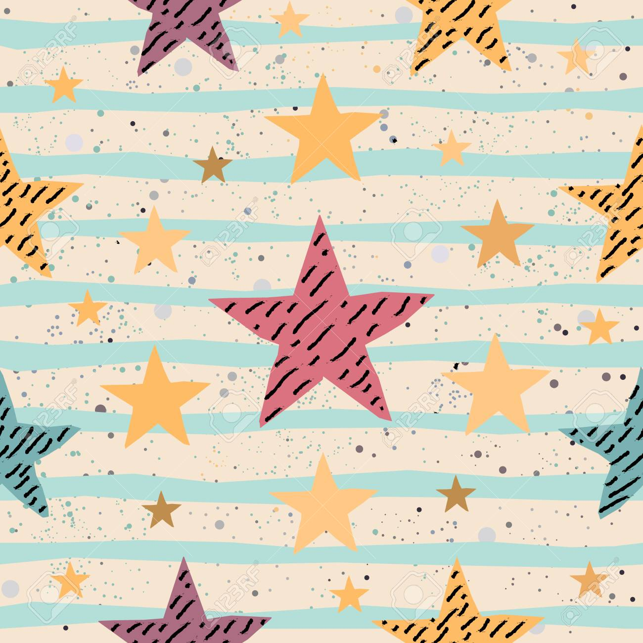 Cute Seamless Star Pattern. Great for backgrounds, backdrops, cars, postcards, invitations, headers, brochures, posters,wall art, flyer, etc. Vector Illustration. - 87355094