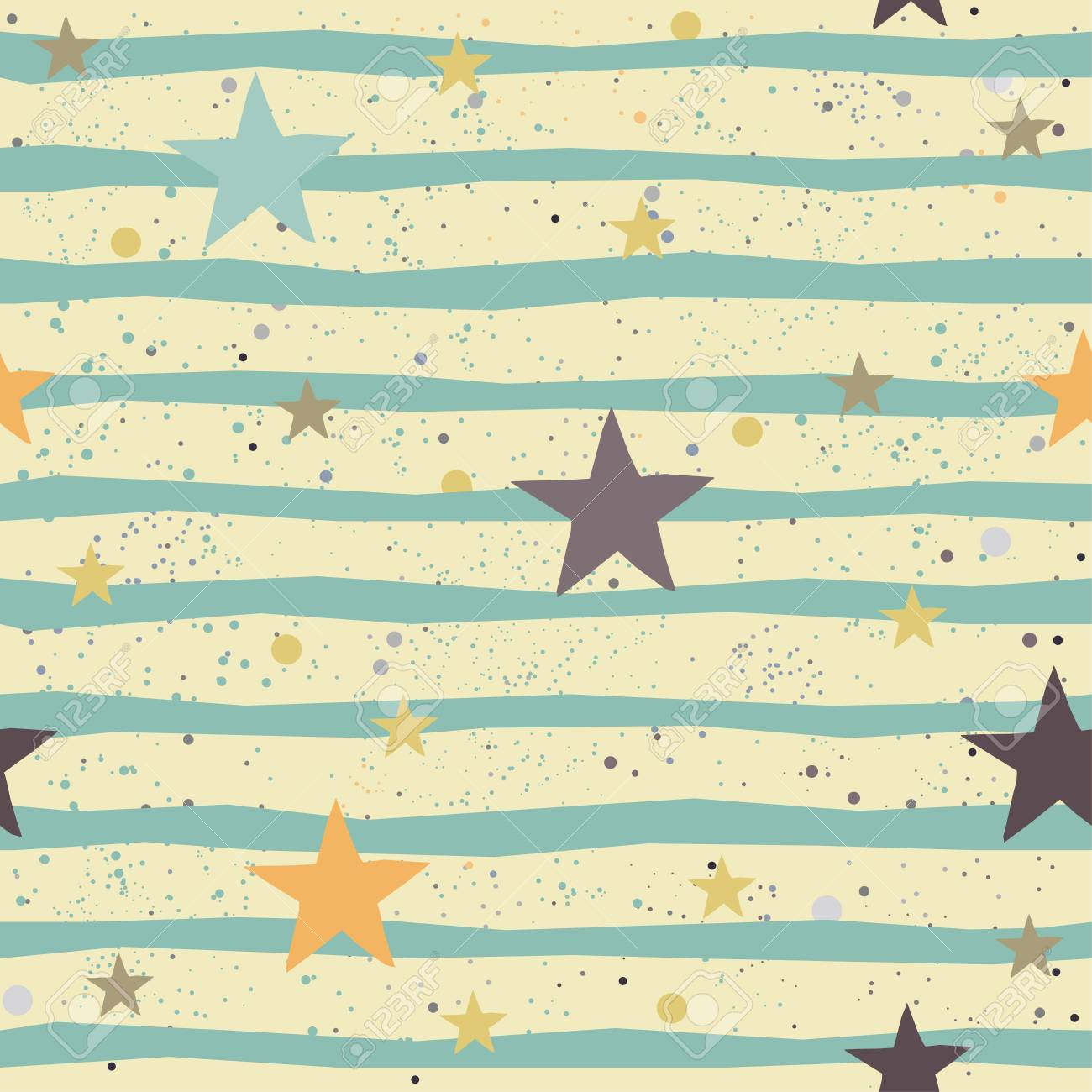 Cute Pattern With Stars On Background With Tiny Dots. Great For ...
