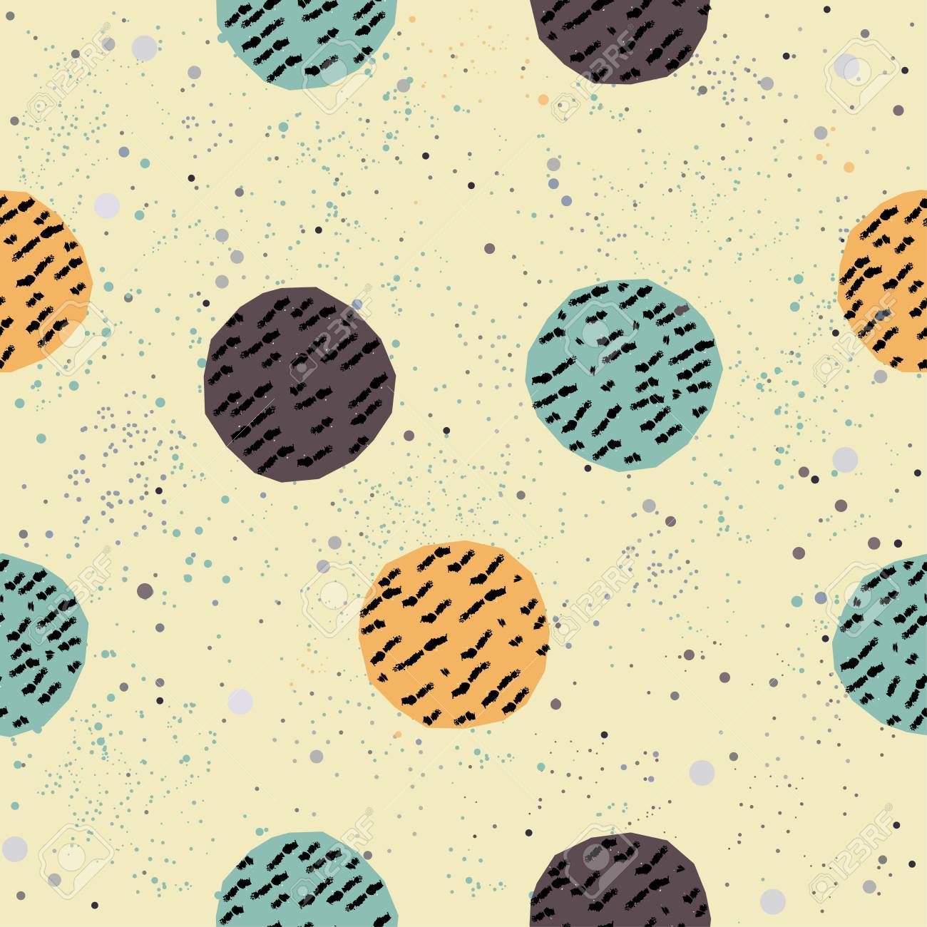 Cute Seamless Pattern. Hand Drawn Design. Great For Wall Art.. Stock ...