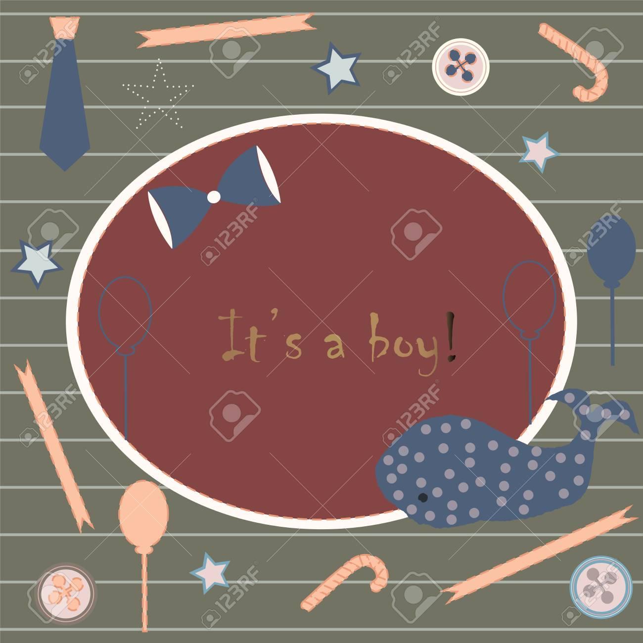 Baby Boy Birth Announcement. Baby Shower Invitation Card. Cute ...