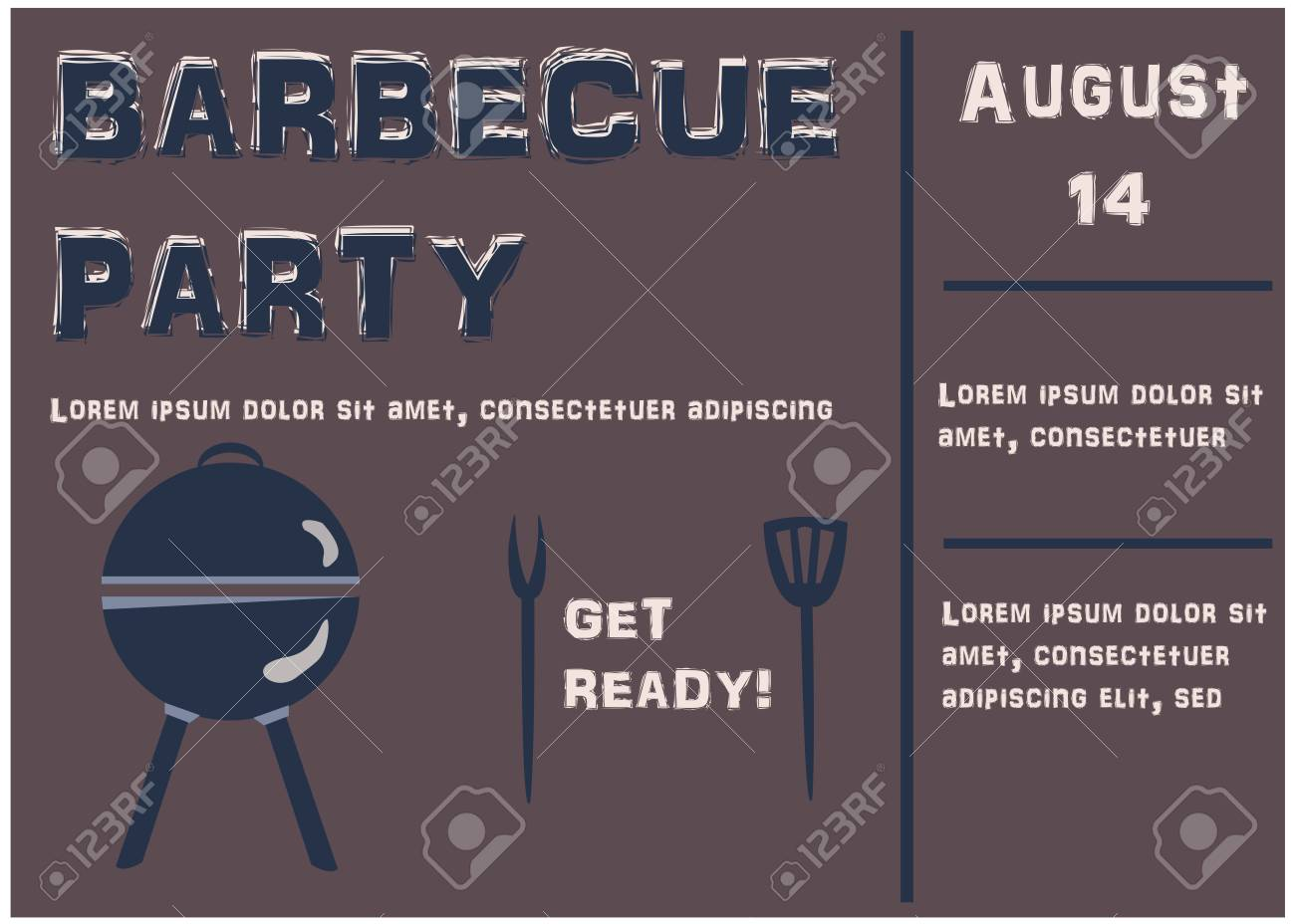 barbecue party announcement retro style vector illustration stock